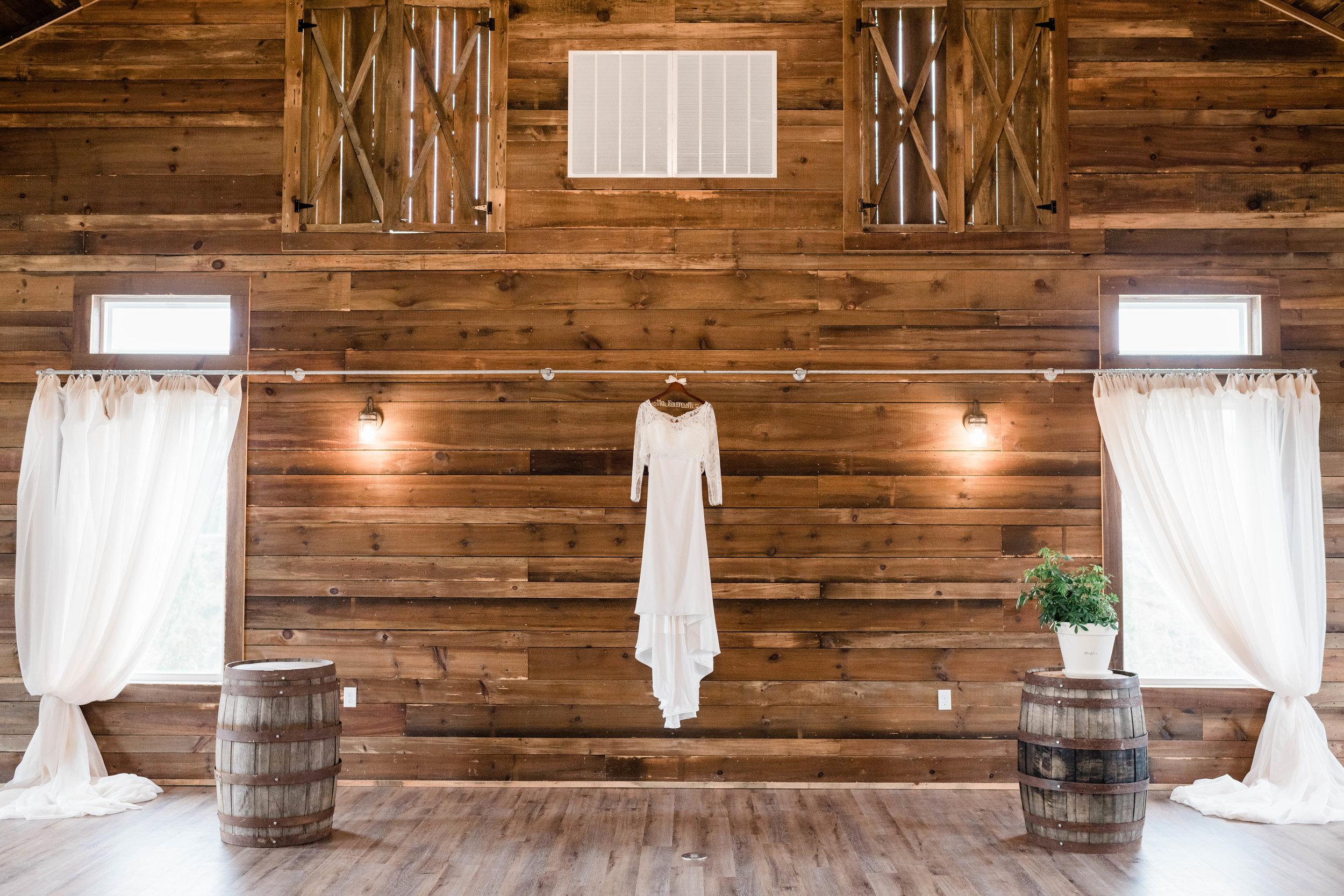 Wedding dress hanging in the wedding venue