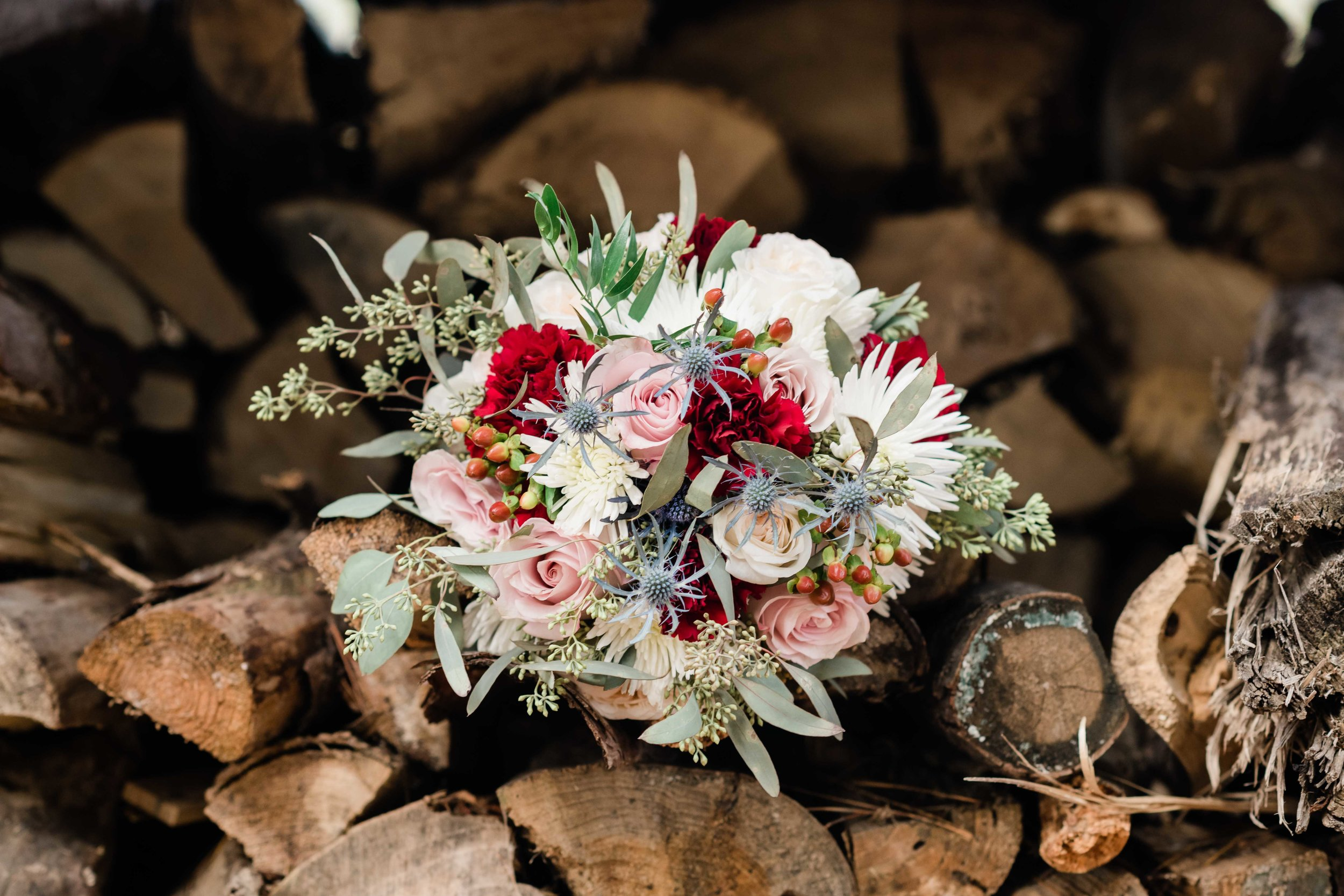 Bridal bouquet on split firewood