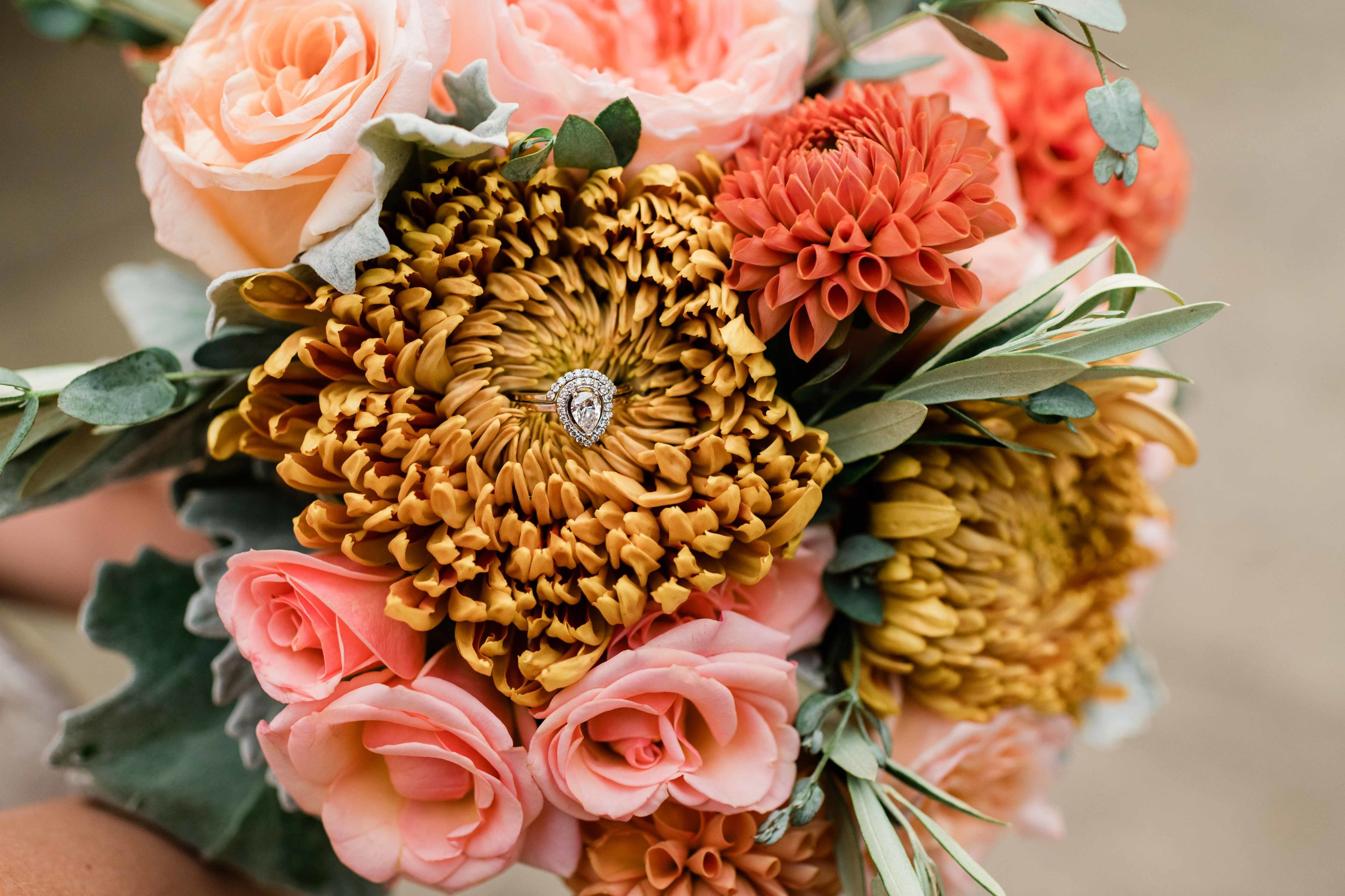 Bridal bouquet with wedding ring