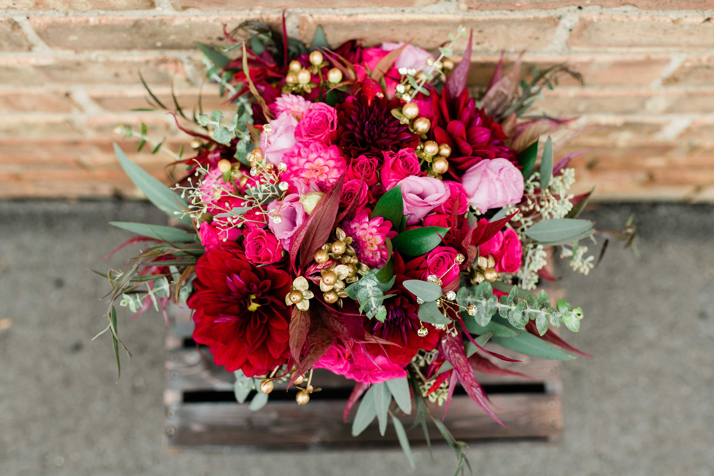 Bridal bouquet on wooden crate