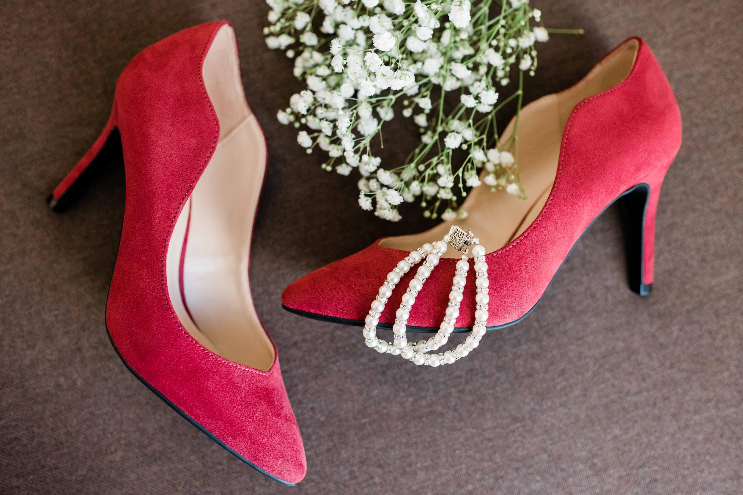 Bride's shoes and bracelet