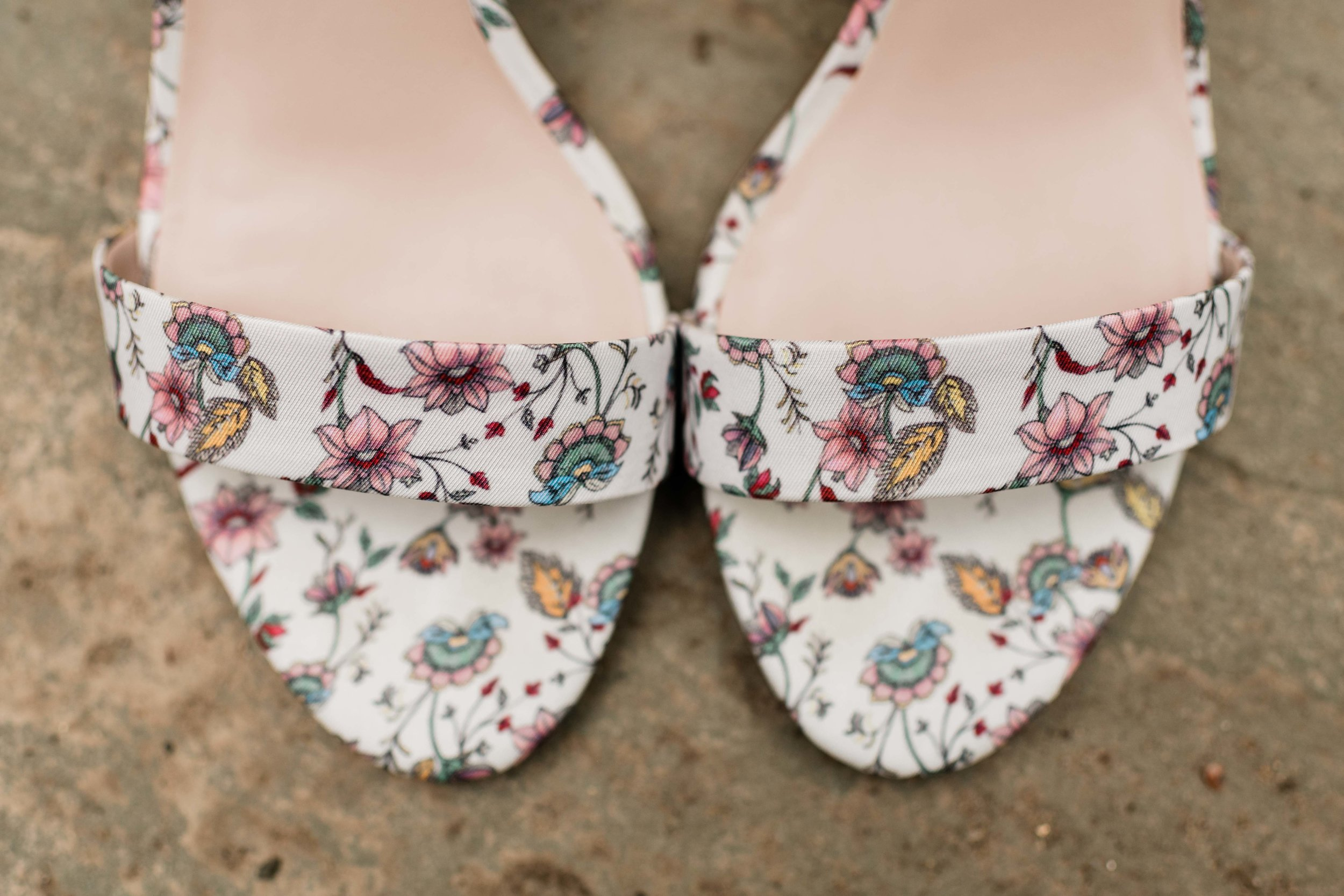 Floral bridal shoes