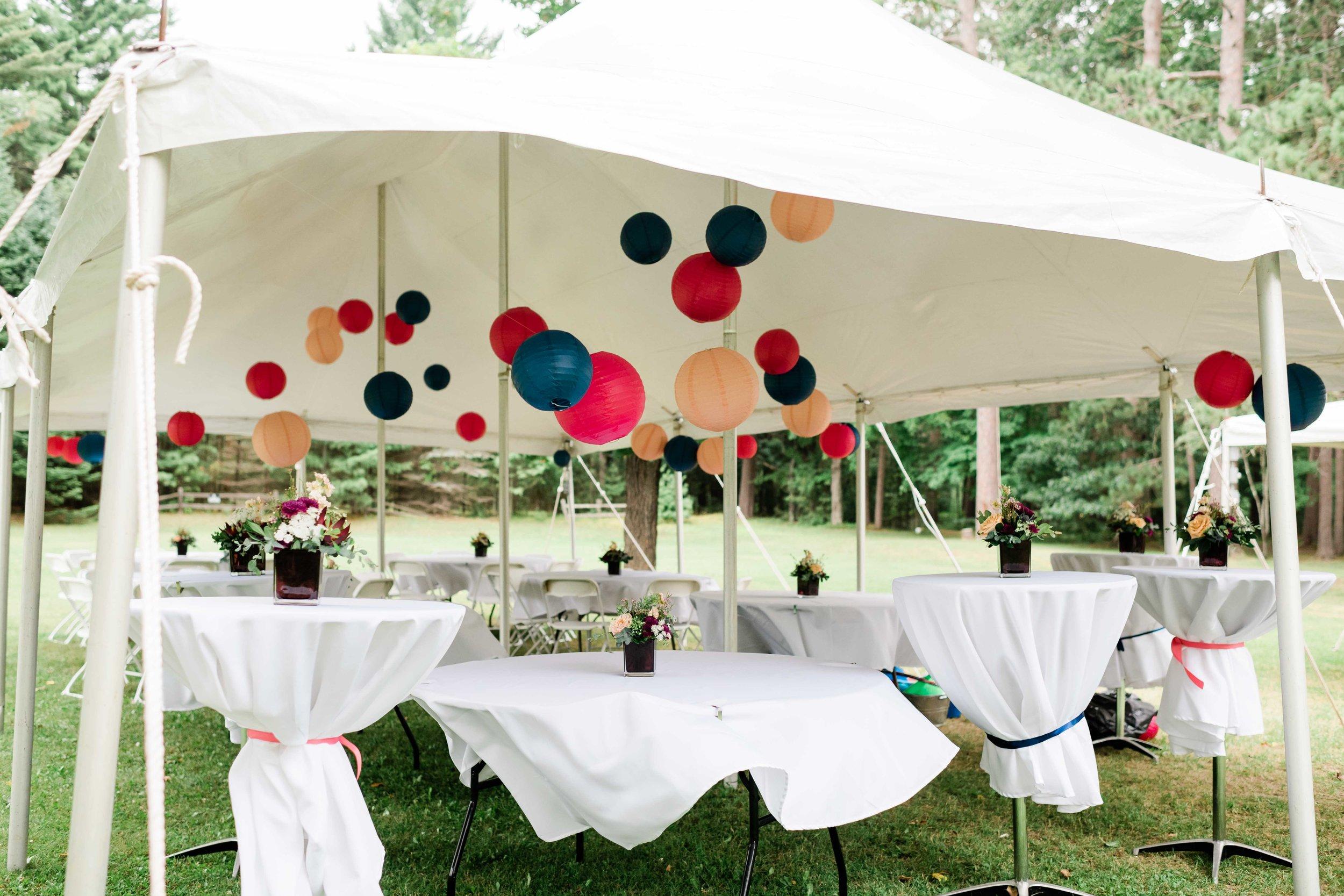 Colorful reception decor
