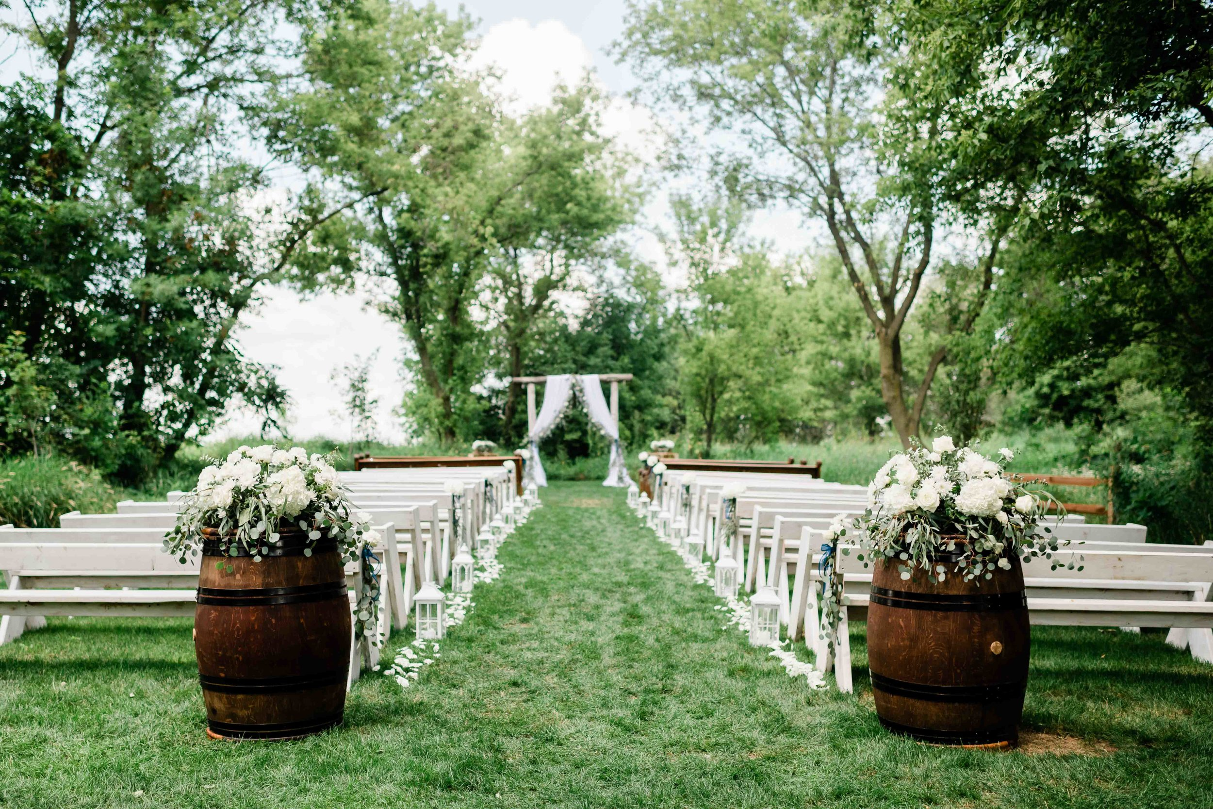 Outdoor ceremony at Cupola Barn
