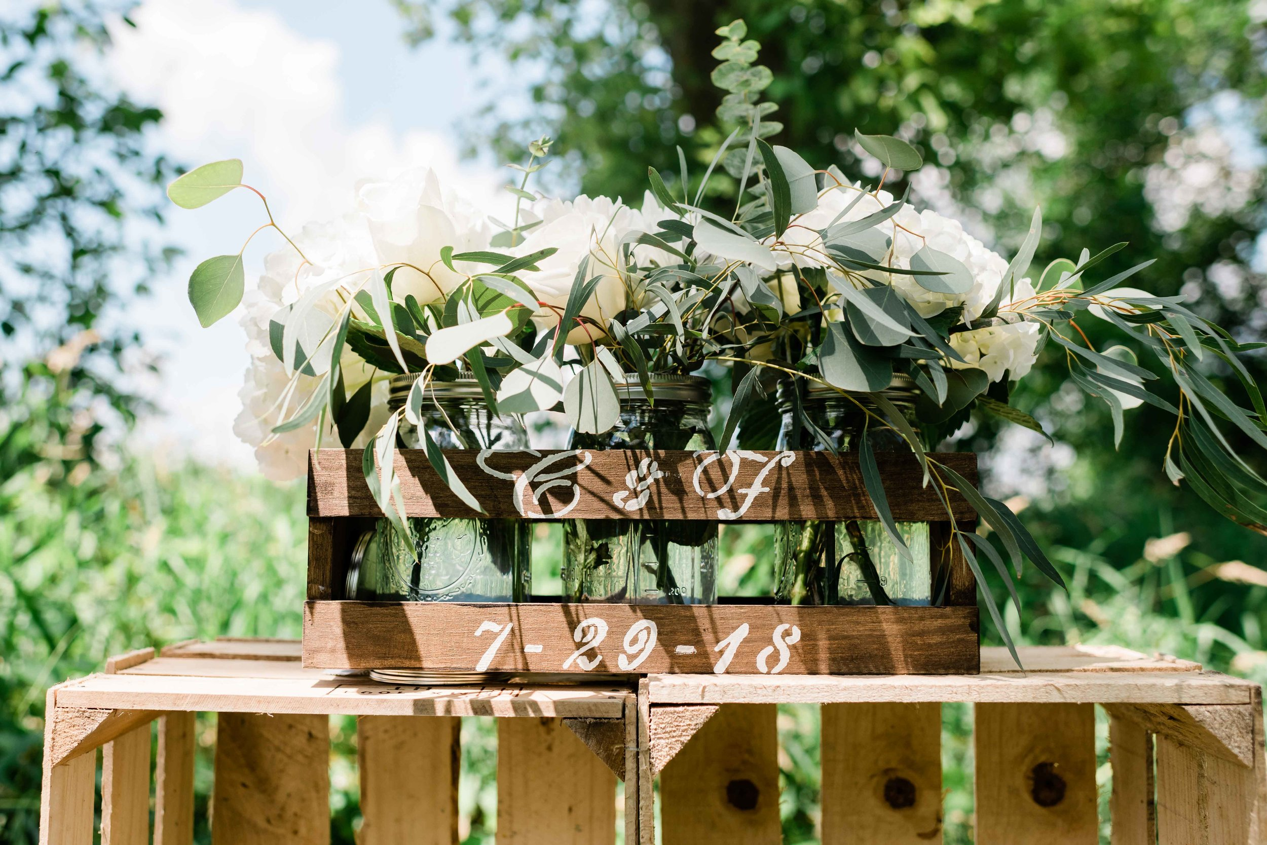 Flowers in personalized wooden crate