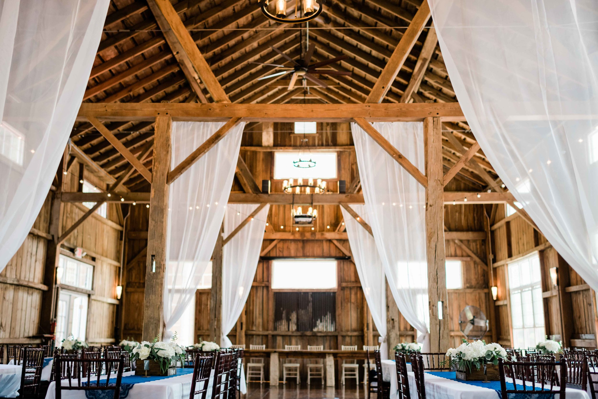 Reception venue at Cupola Barn