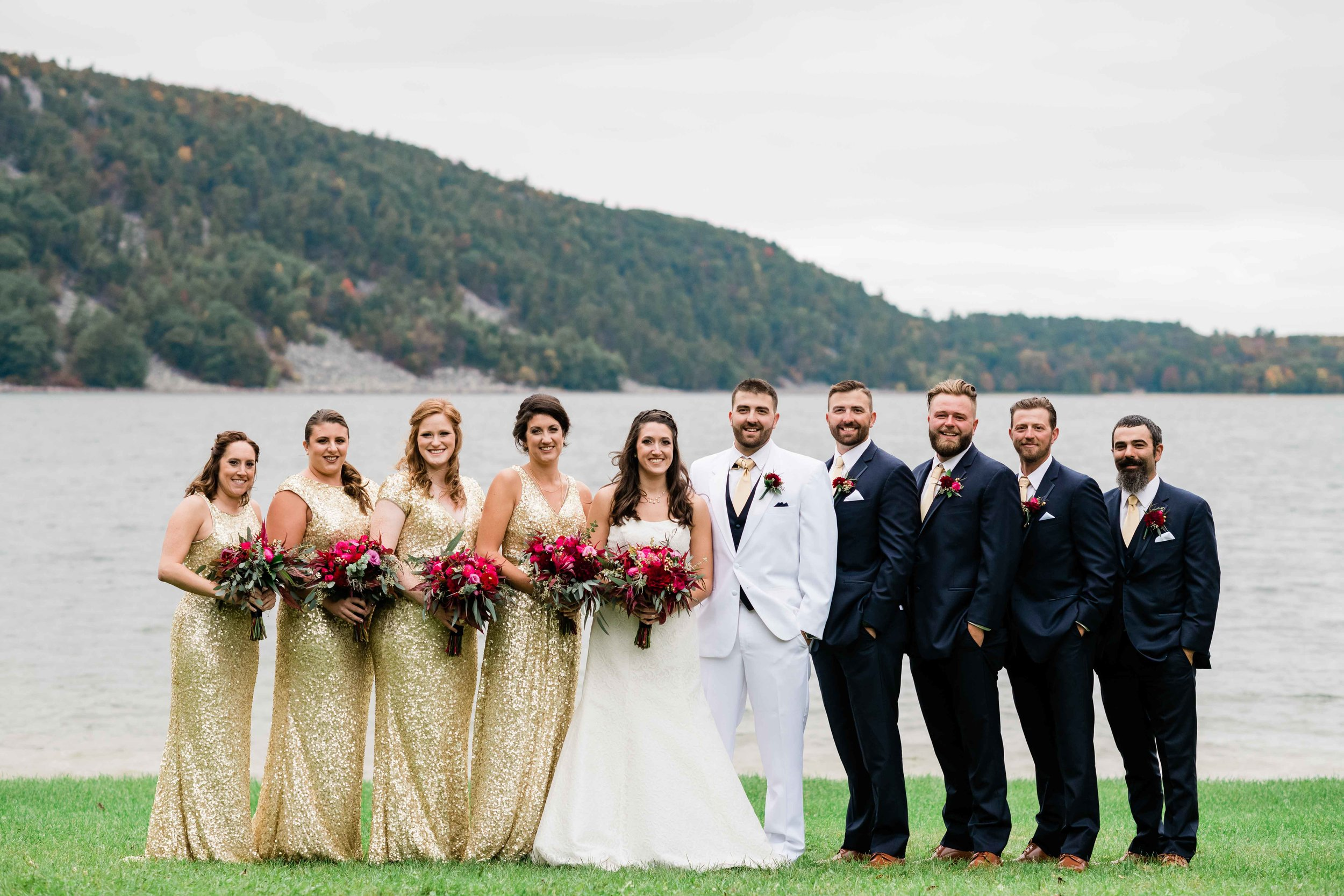 Wedding party at Devil's Lake State Park in Barabook, Wisconsin