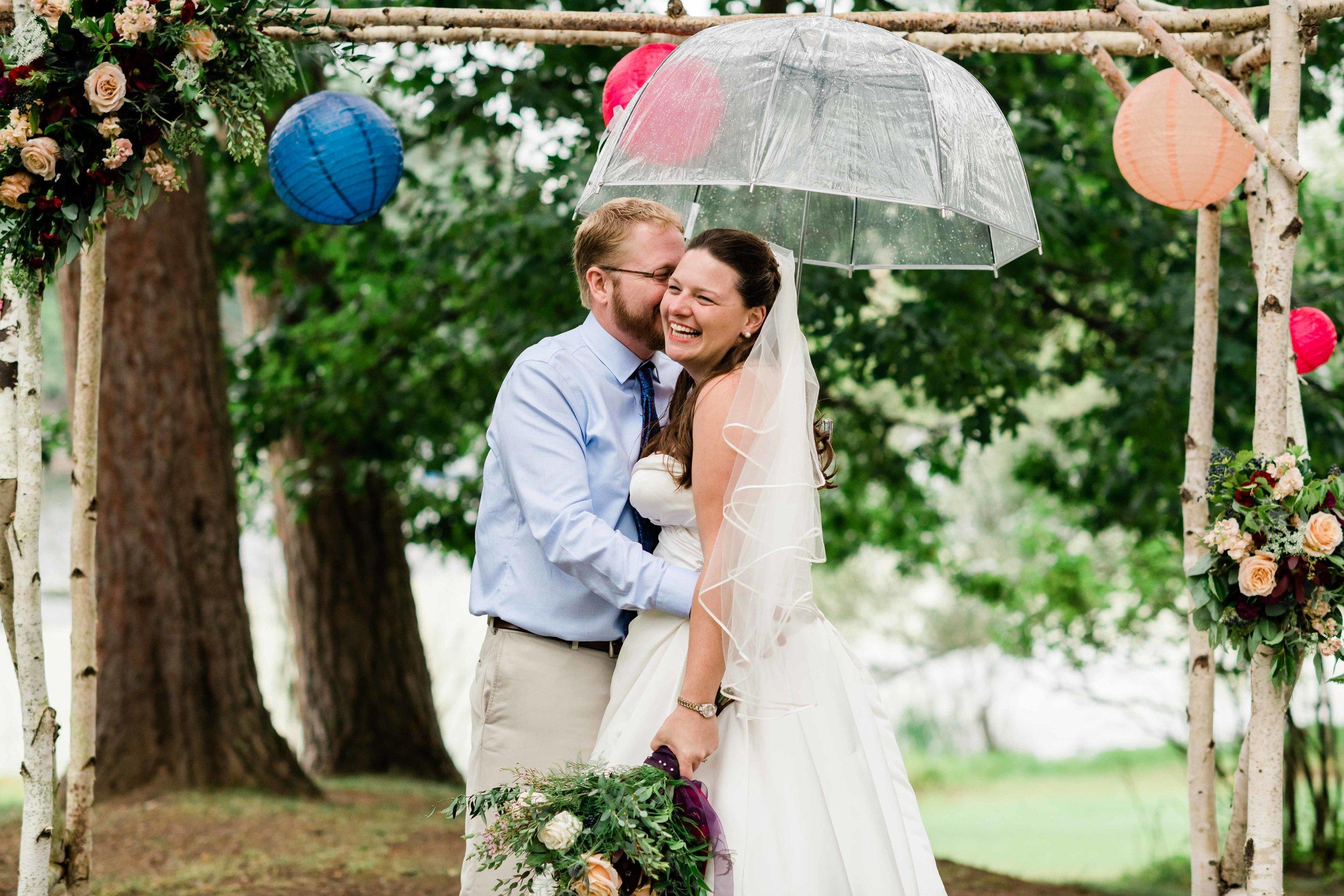 Groom makes bride laugh
