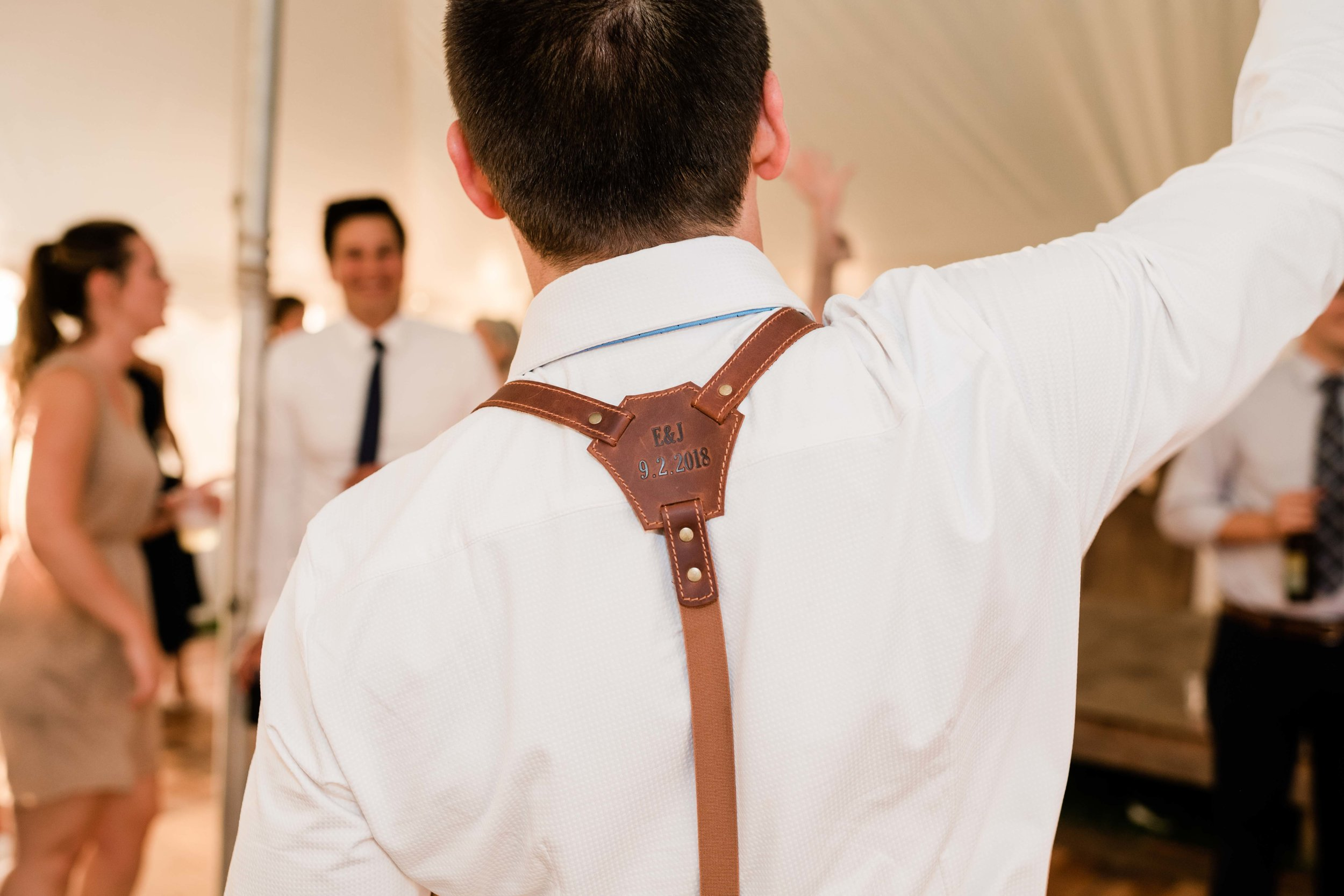 Personalized groom's suspenders
