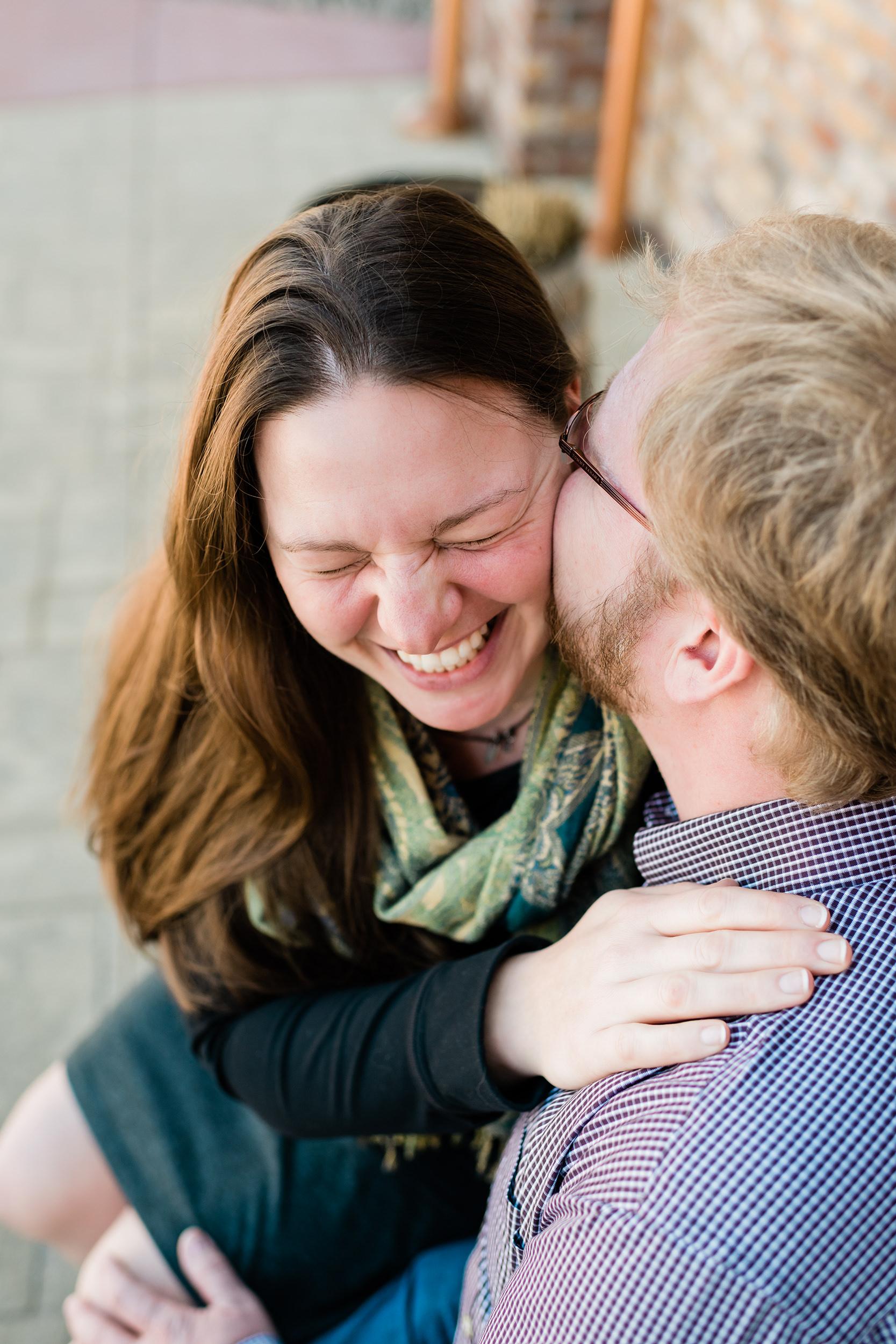 Man makes his fiancé laugh