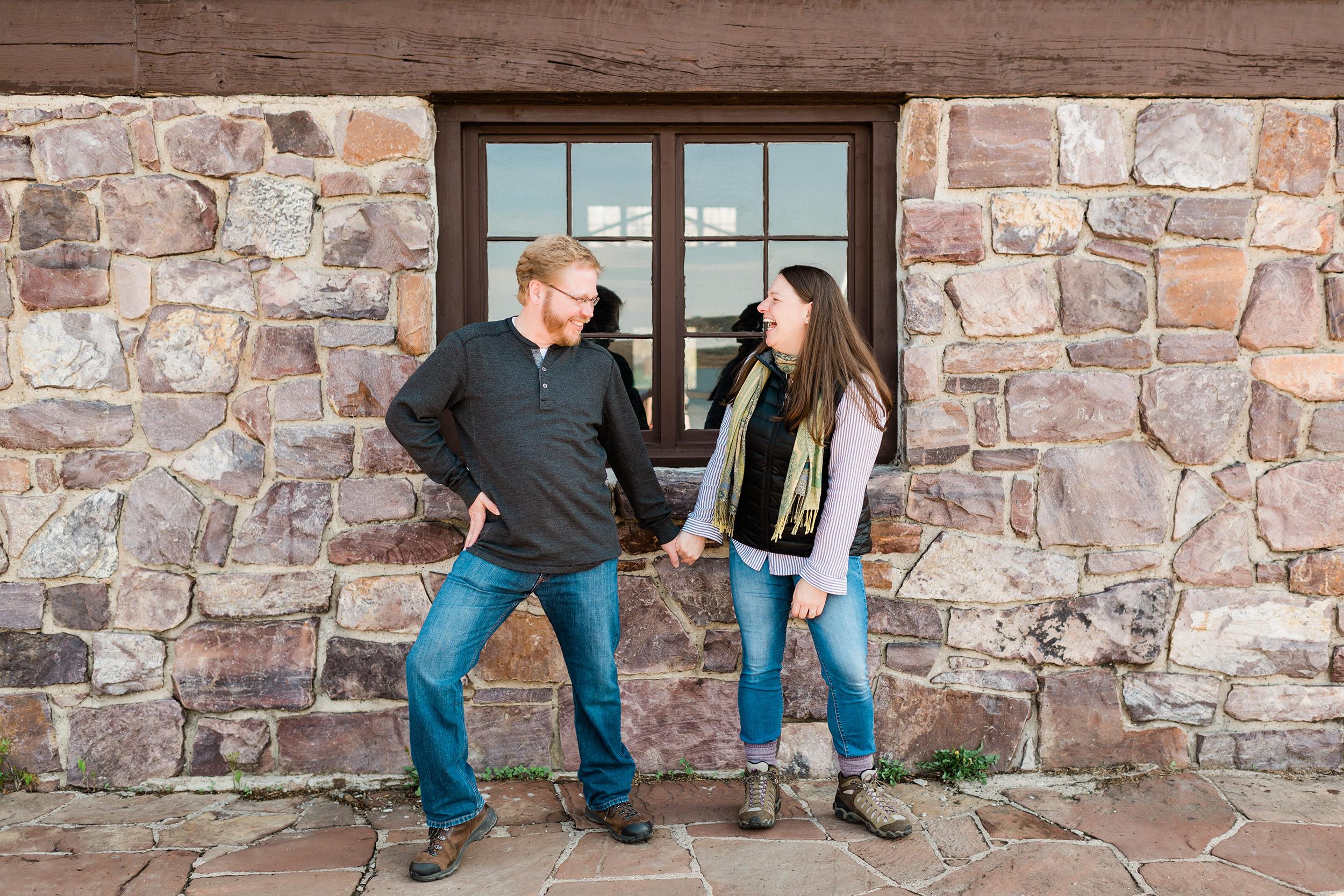 Engaged couple goofing around