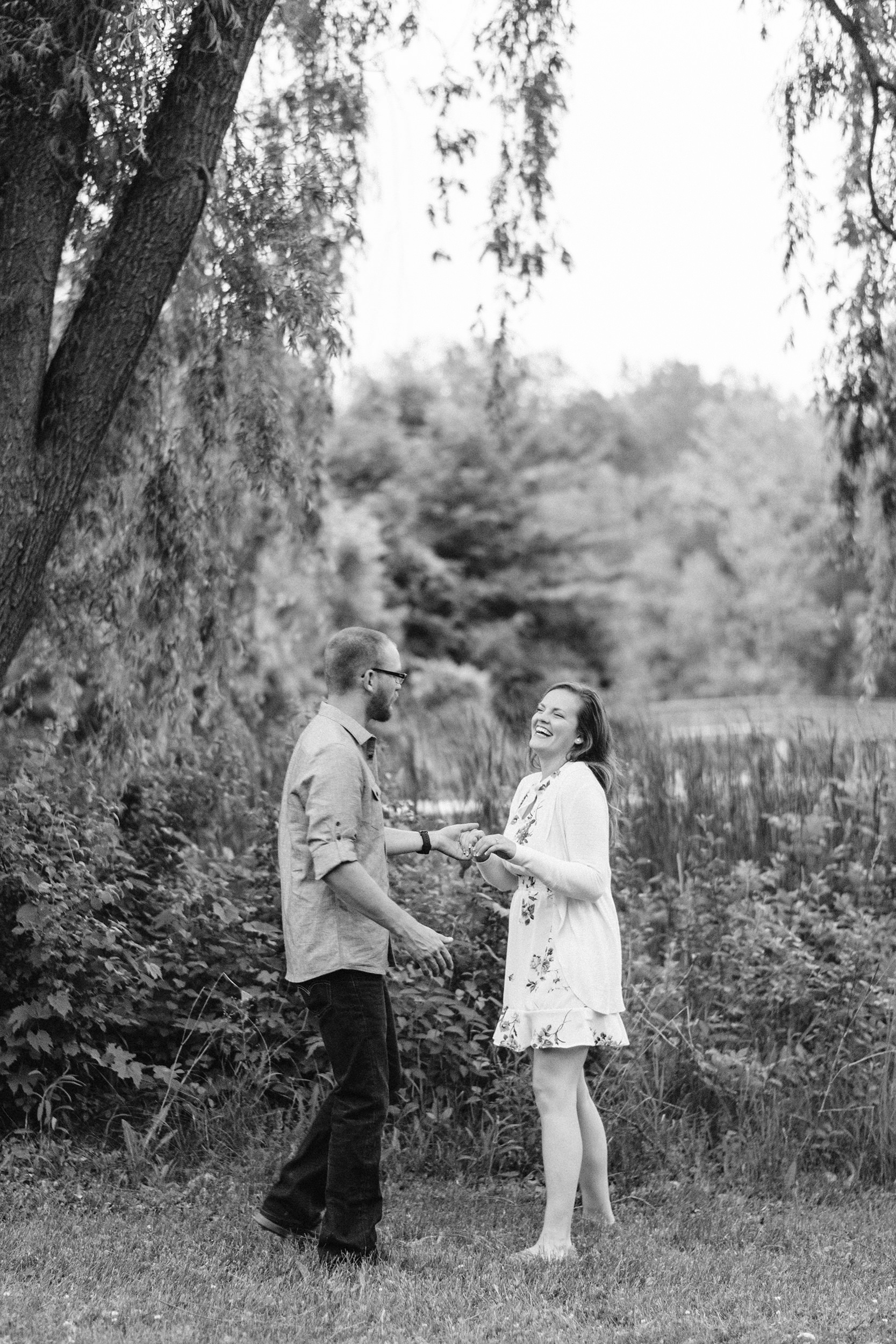 Woman laughing with fiancé