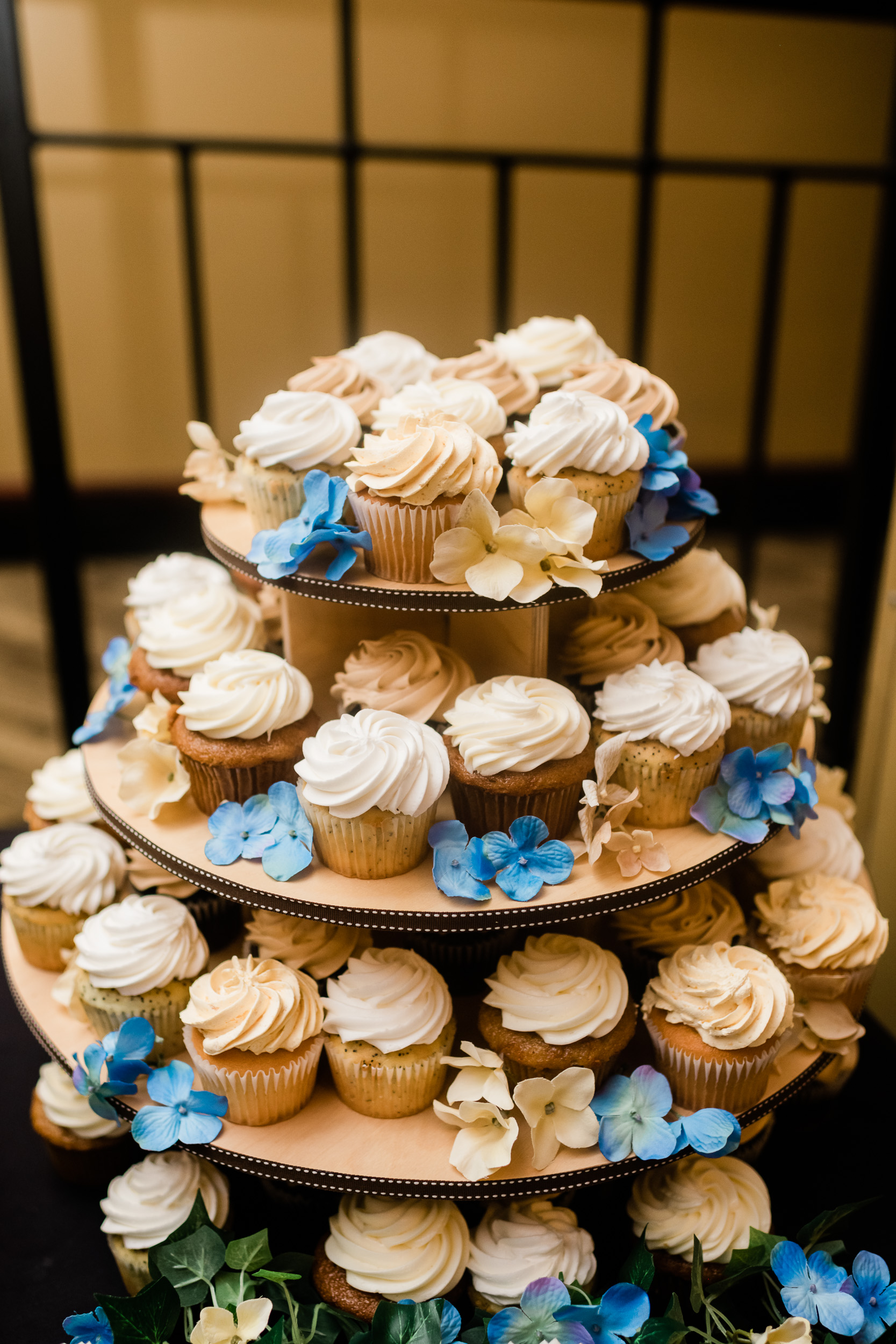 Cupcakes on a four tier display
