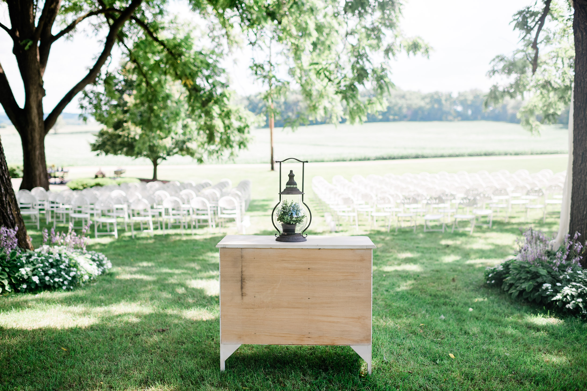 Backyard wedding ceremony site