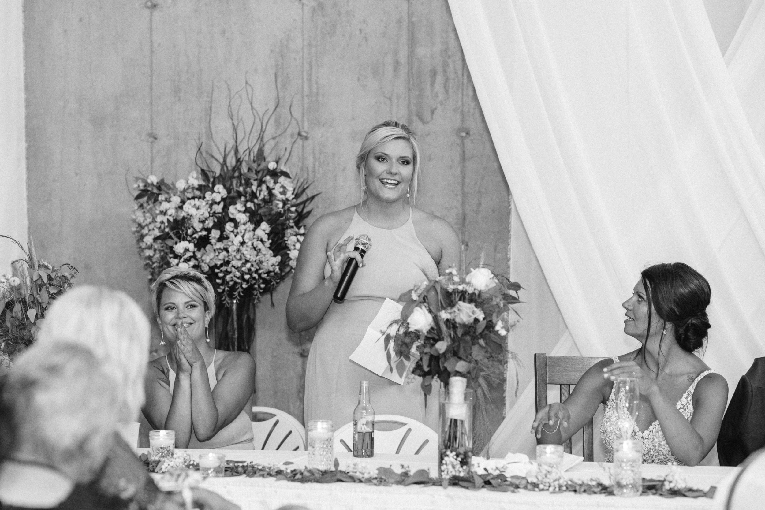 Maid of honor giving speech