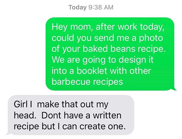 "What it means to cook ""from the soul."" I (@de_nichols) asked my mom for her baked beans recipe for our June 22 #blacksummerstl @foodsparkstl potluck and cookout. She's so good with it that she doesn't even have/use a written recipe. Come to our event on June 22 to taste my momma's beans! 🙌🏾😋✨"