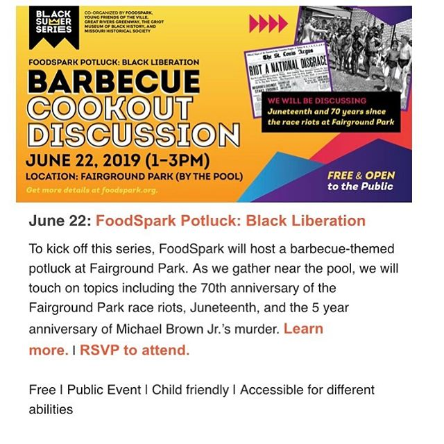 We are in our final planning meeting before the @foodsparkstl #blscksummerstl series starts on Saturday. Our first event of the summer is a potluck and cookout at #fairgroundpark. We will be discussing black liberation and struggles from black STL history, including the 1949 pool integration race riots, #juneteenth, the 2014 uprising in Ferguson, and more. In addition to the food participants bring, we will have barbecue from Sweet Tooth BBQ, Juice on sale from Juice Master, and Italian ice from Scoops, and ice cream. Come out from 1-3pm.