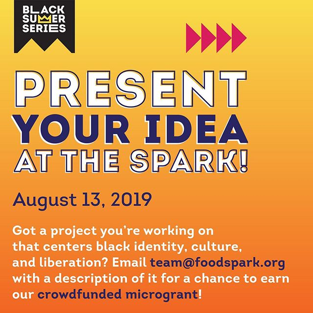 There is one more day to submit your description of your project to be considered for Sunday's #FoodSparkSTL community-funded microgrant. Send a .pdf (1pg Max) about it to team@foodspark.org and come to Sunday's event at @thegriotmuseum to talk about with our audience.