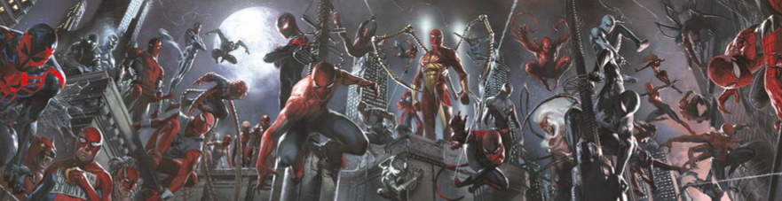 Gabrielle Del'Otto   Spidey-Verse   Giclee on Canvas  Signed by Stan Lee  13 x 50.25 in.  Edition of 50