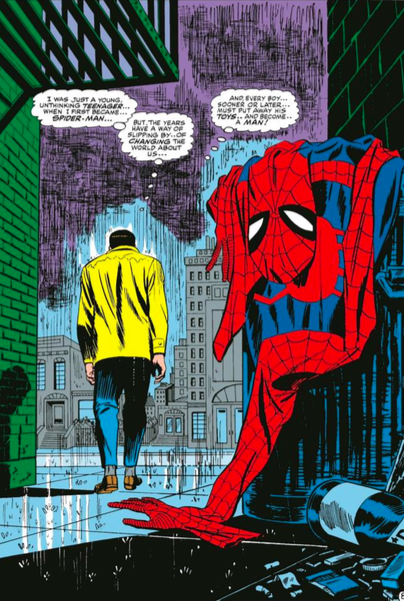 John Romita, Sr.   Spider-Man No More   Giclee on Canvas  28 x 18.5 in.  Edition of 50  Signed by John Romita, Sr.