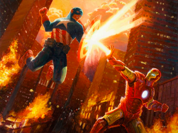 Christopher Clark   Hero Clash   Giclee on Canvas  30 x 20 in.  Edition of 25  Signed by Christopher Clark