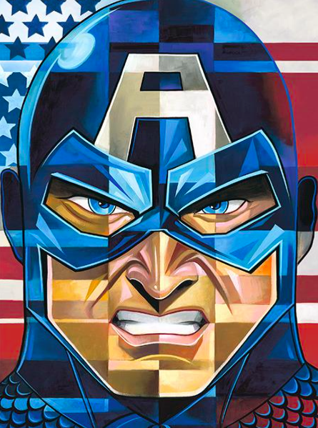 Tim Rogerson   Tim Rogerson: Captain America   Giclee on Canvas  30 x 20 in.  Edition of 50  Signed by Tim Rogerson