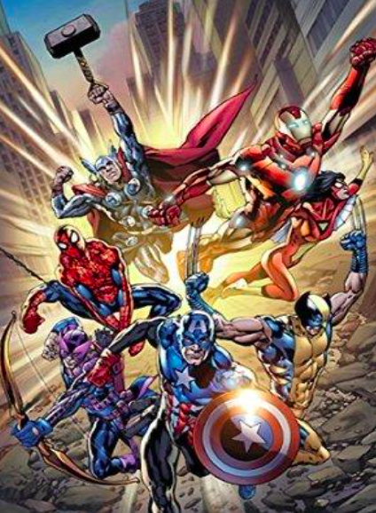 Brian Hitch & Paul Neary   Fearless Deluxe   Giclee on Canvas  45.5 x 30 in.  Edition of 50  Signed by Stan Lee