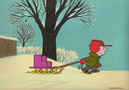 Not Quite Ready for the Bobsled Team, Charlie Brown. Try Show Biz!   An Original Production Cel set-up with matching animator's drawing   INQUIRE
