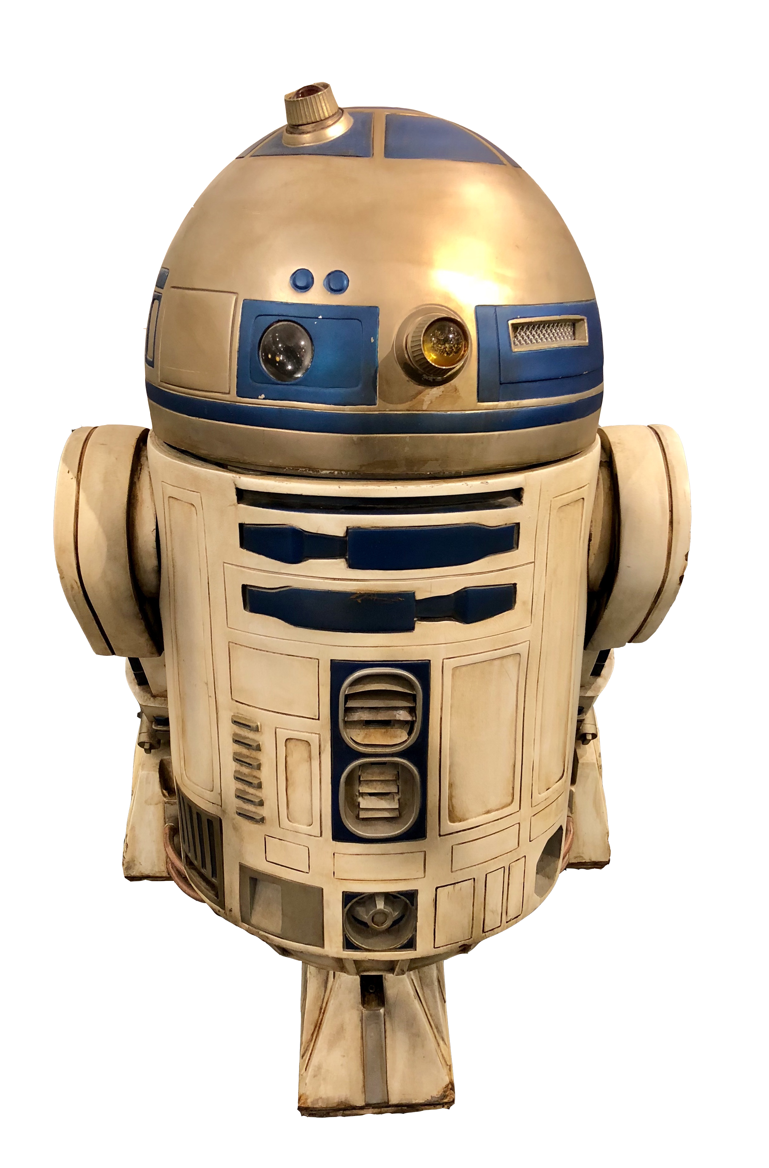 """This is the original, fully robotic R2D2, which was built in 1997, that operated daily at the Disney-MGM Studios at Walt Disney World. At the time, it was initially created for us in """"Star Wars Weekends"""" which ran from May to June of that year. In 2001, it was then used in the """"Star Wars and Motorcars""""parade, requiring it to travel nearly one mile a day, 7 days a week, 365 days a year!    This robot also appeared in numerous stage shows, meet and greet photo opps, and presentations at the theme parks , including the infamous """"Star Wars Weekends"""" throughout 2013."""