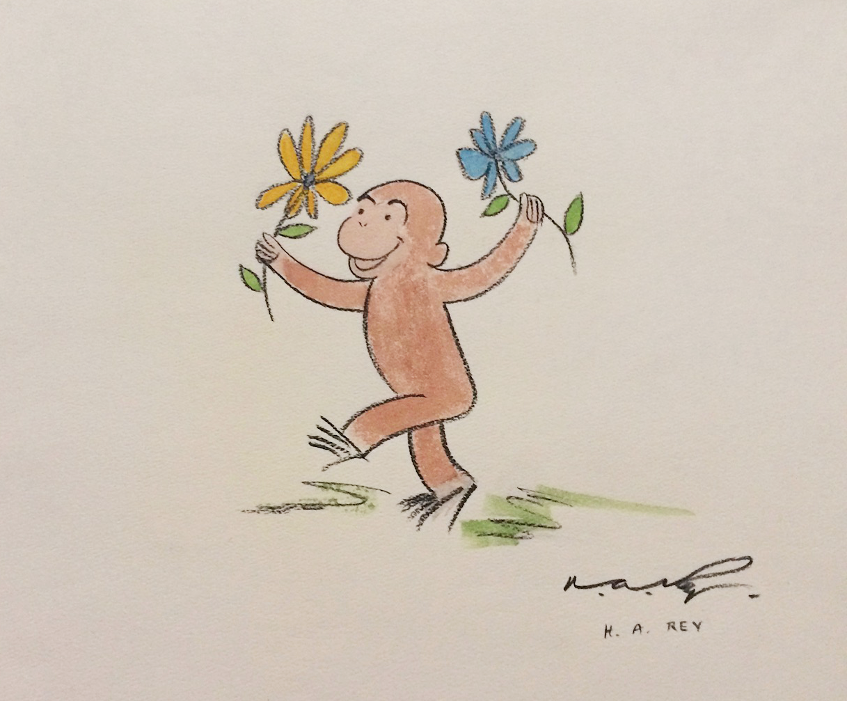 H.A. Ray    Curious George    c. late 1960''s - early 1970's  Original Vintage Illustration  10.5 x 12 in.