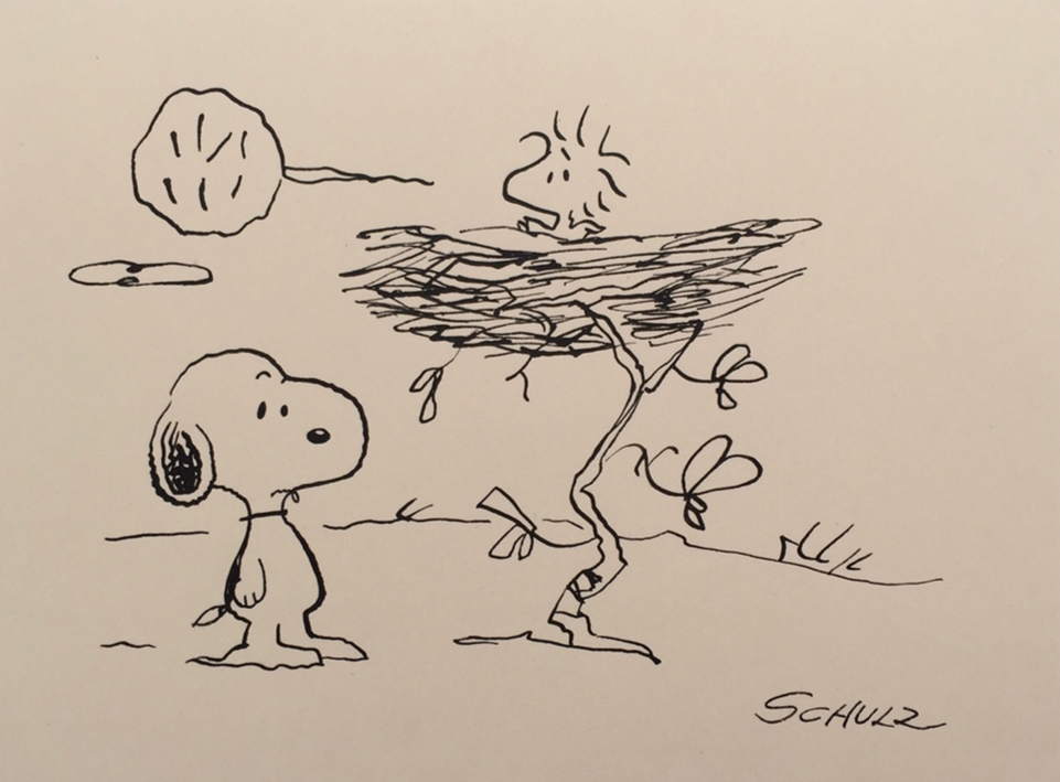 Charles Schulz   Forever Friends   Vintage Illustration,Ink on Paper  5.75 x 7.75 in.  *Rendered during the time of the Peanuts Conic Book by Schulz