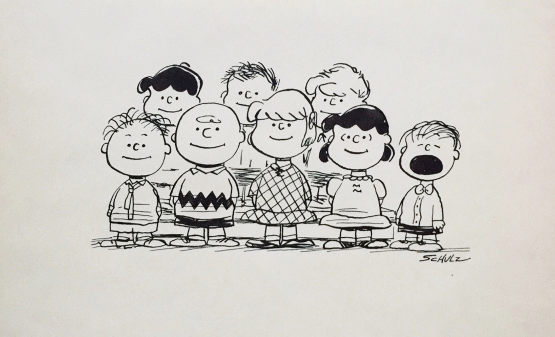Charles Schulz   A PEANUT Cluster   Vintage Illustration,Ink on Paper  6.75 x 11.25 in.  *Rendered during the time of the Peanuts Conic Book by Schulz