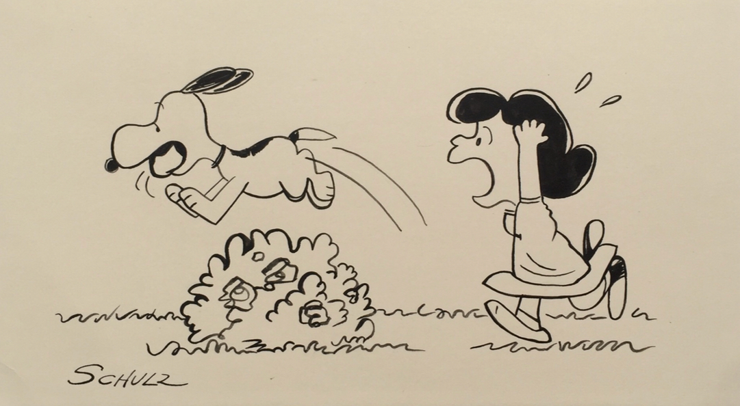 Charles Schulz   Fetch??!!   Ink on Paper  *Rendered during the time of the Peanuts Conic Book by Schulz