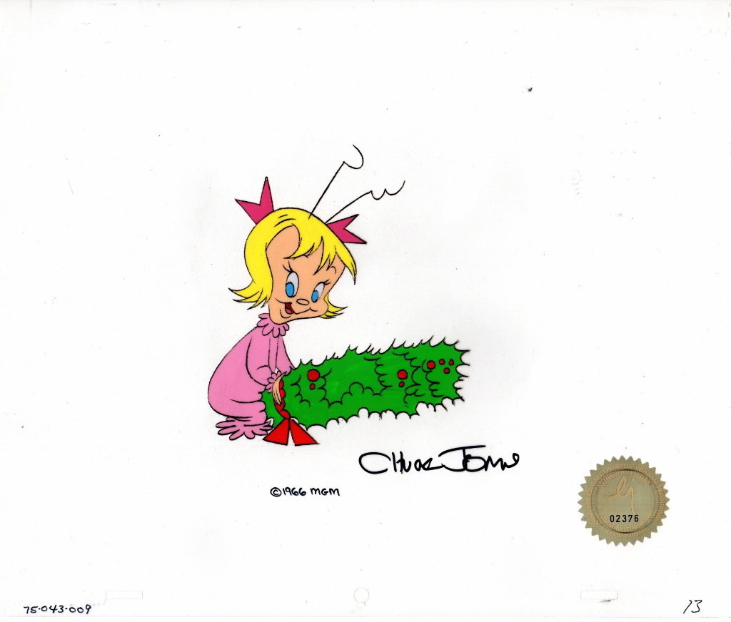 "Cindy Lou Who    Original vintage hand painted production cel from ""How the Grinch Stole Christmas"" 1966  Signed by Chuck Jones   10.5 x 12 inches unframed"