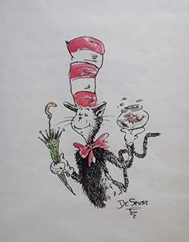 Dr. Seuss   Juggling Cat    Circa 1970's  Original Illustration  Mixed Media on Paper  7.25 x 9.5 in.  *Signed by Dr. Seuss