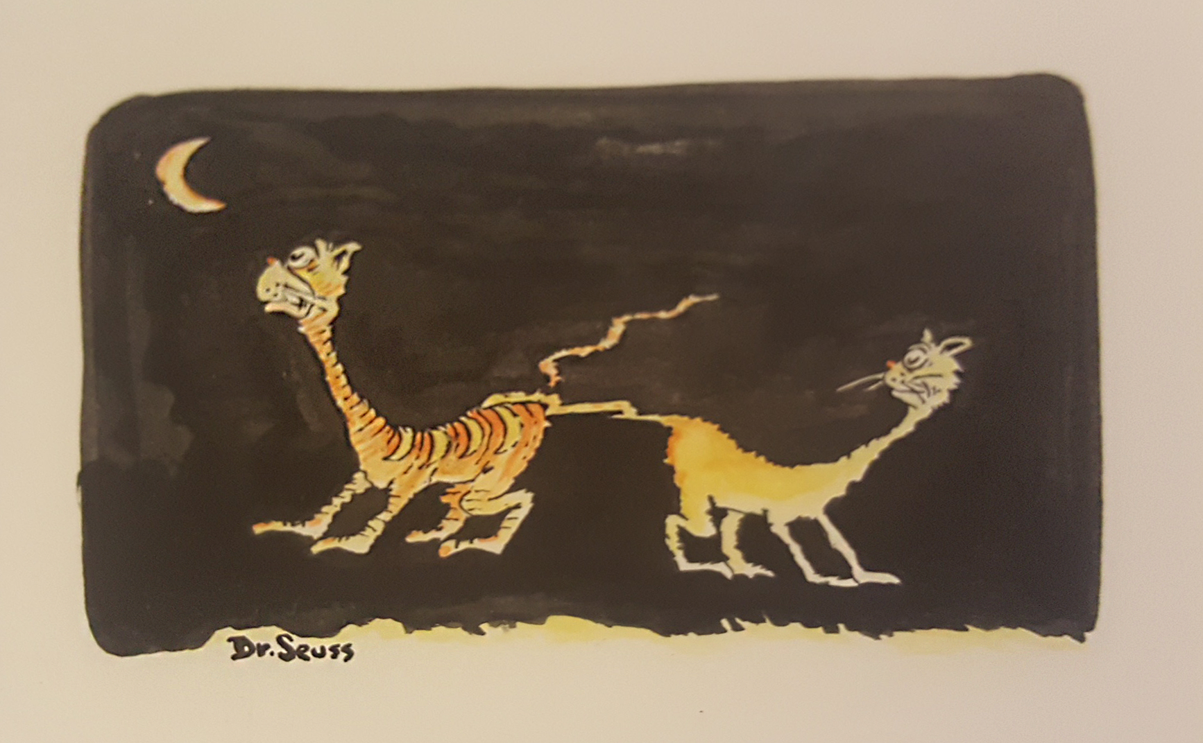 Dr. Seuss   Two Hip Cats  c. 1960's Mixed Media on Paper 7 x 5.5 in.  Signed byDr. Seuss