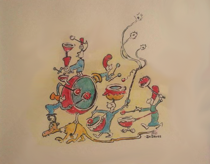 Dr. Seuss   Band on the Run   c. 1970's  Original Illustration, Mixed Media on Paper  9.5 x 7.5 in.  Signed by Dr. Seuss