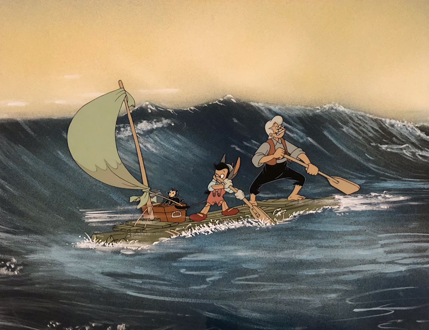 Pinocchio   1940  Vintage, Hand-Painted Animation Cel  15.5 x 12 in.
