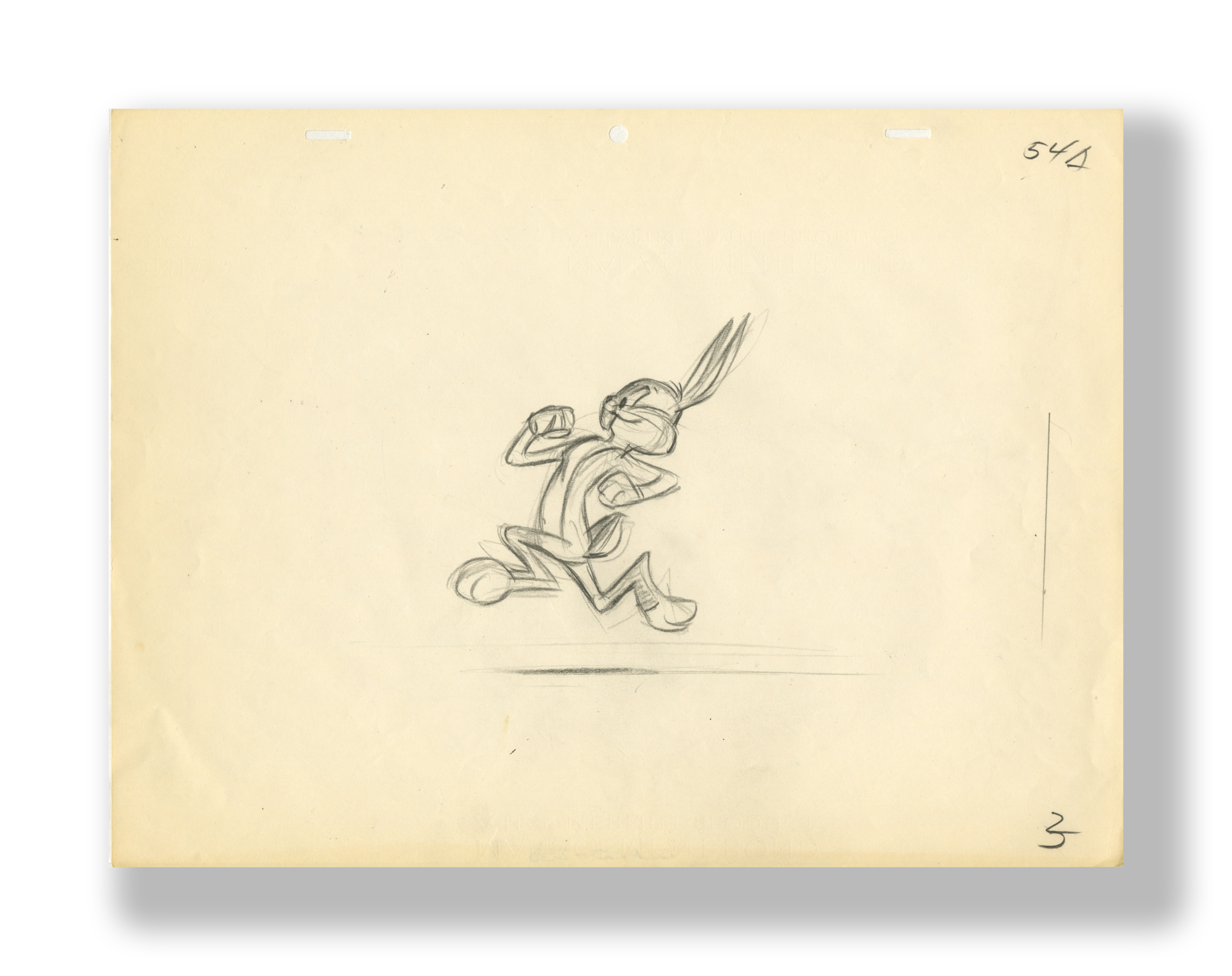 Chuck Jones   Bugs Bunny Running (Layout Drawing)   Circa Mid to Later 1950's  Graphite on 12 Field Animation Paper  10.5 x 12 5 in.  Used in the Production of an Unknown Cartoon   INQUIRE
