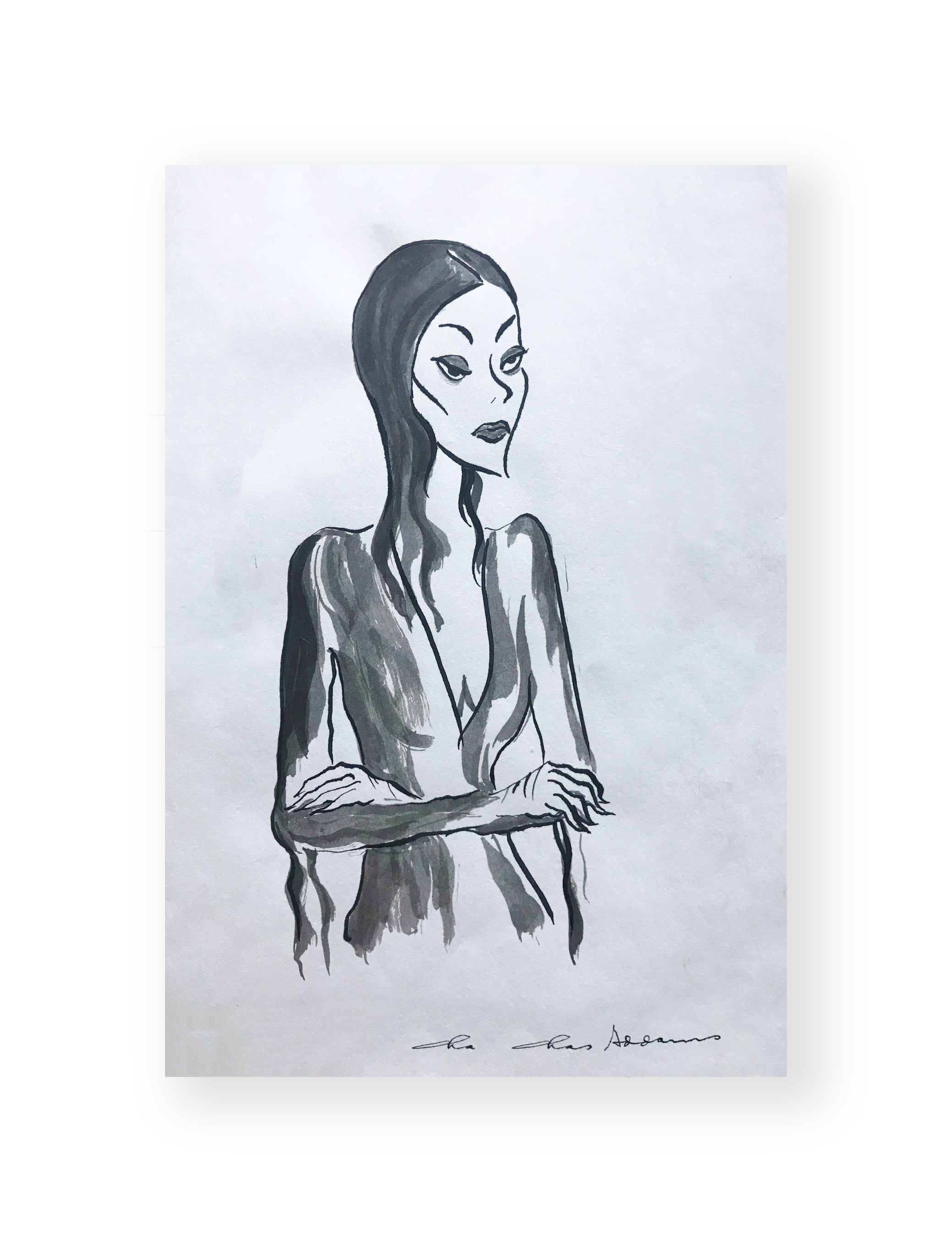 "Charles Addams  ""Morticia""  Addams Family  Original illustration  Ink and black wash on paper  10 x 7 inches  Circa 1970's  Provenance Edward Alanis family collection"
