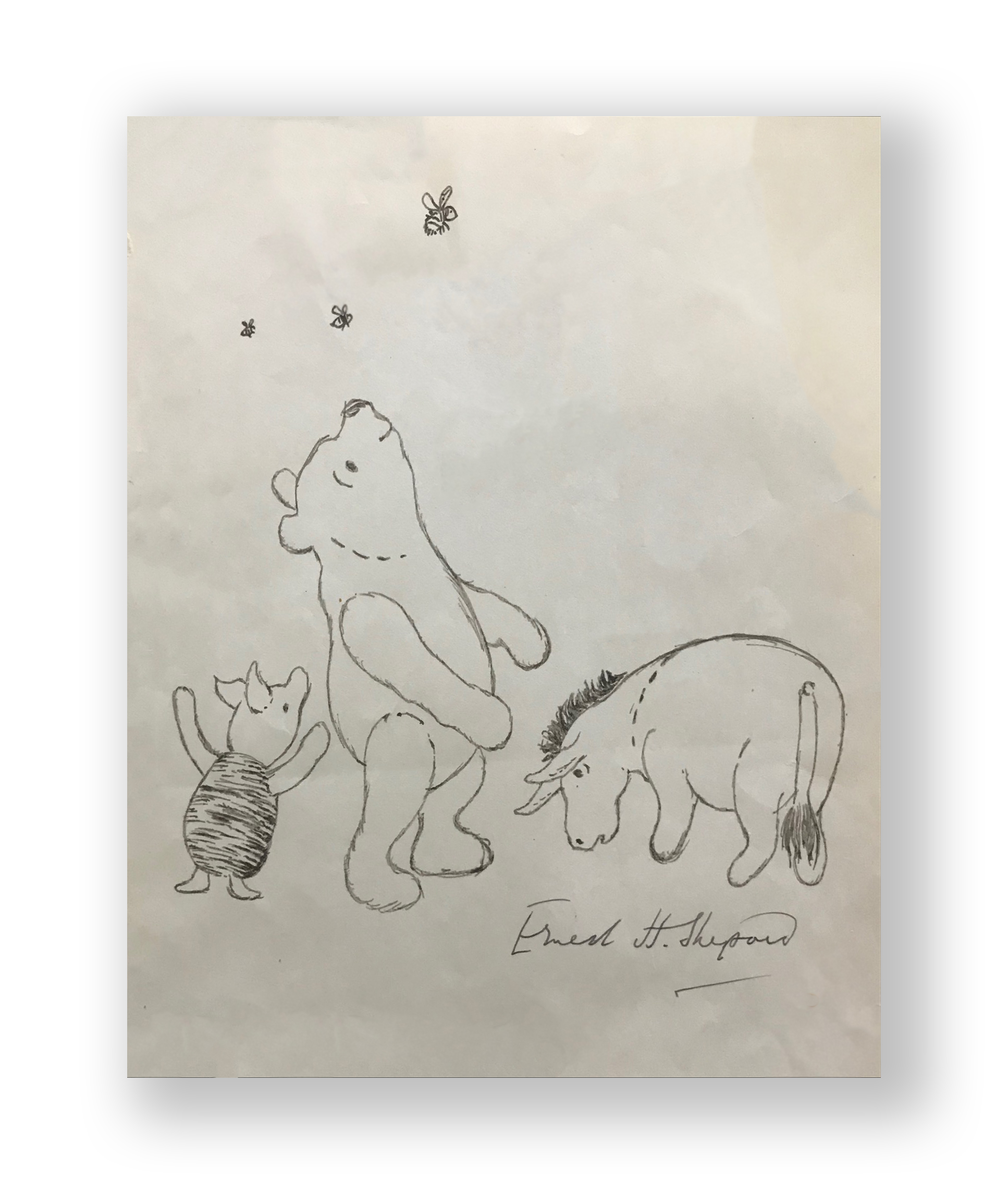 "E.H. Shepard  "" Bee Watching""  Winnie the Pooh and Friends  Original vintage illustration  Ink on paper  9 x 7 inches  Circa 1950's -1960's"