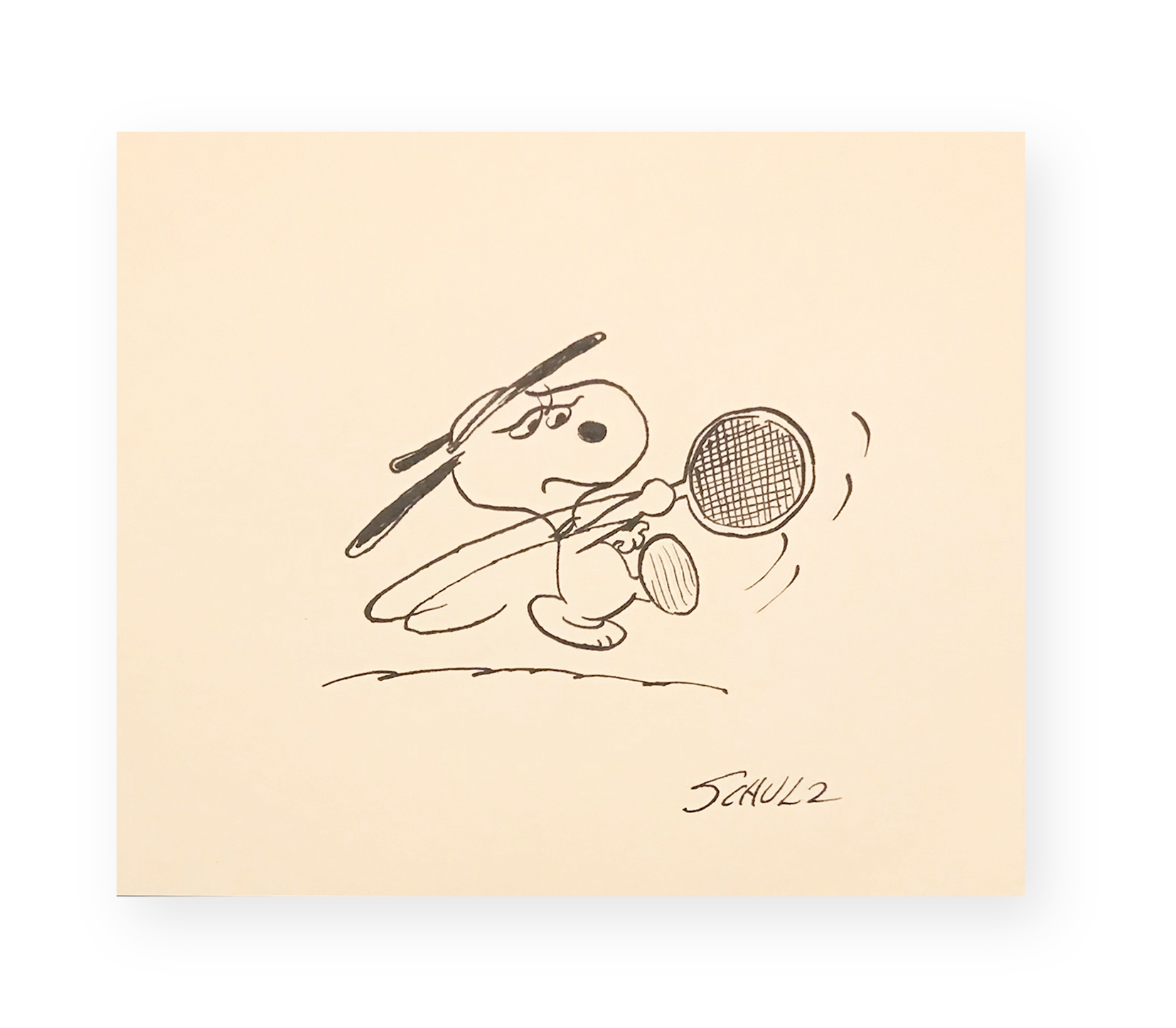 "Charles Schulz  ""What a Racquet!""  Snoopy Tennis  Ink on paper  9 x 11 in.  Circa 1970's  *Ted Long Collection"