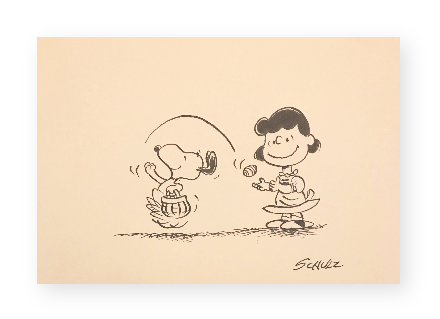 "Charles Schulz  ""Holiday Egg Toss""  Lucy and Snoopy  Ink on thick stock paper  7 x 10.5 inches  Circa 1970's  *Ted Long Collection"