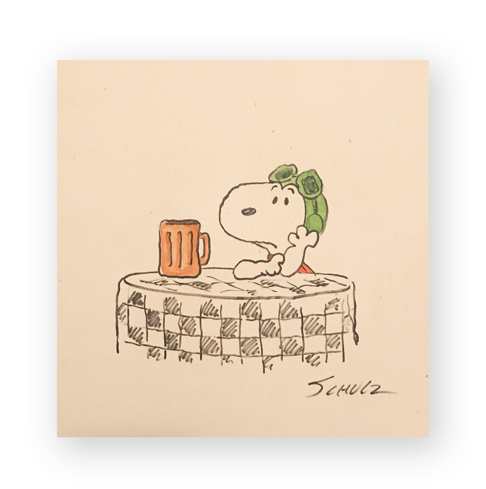 "Charles Schulz  ""Between Missions""  Snoopy (Flying Ace Root beer)  Mixed media illustration on thick stock paper  11.5 x 12 inches  Circa 1970's  *Ted Long Collection"