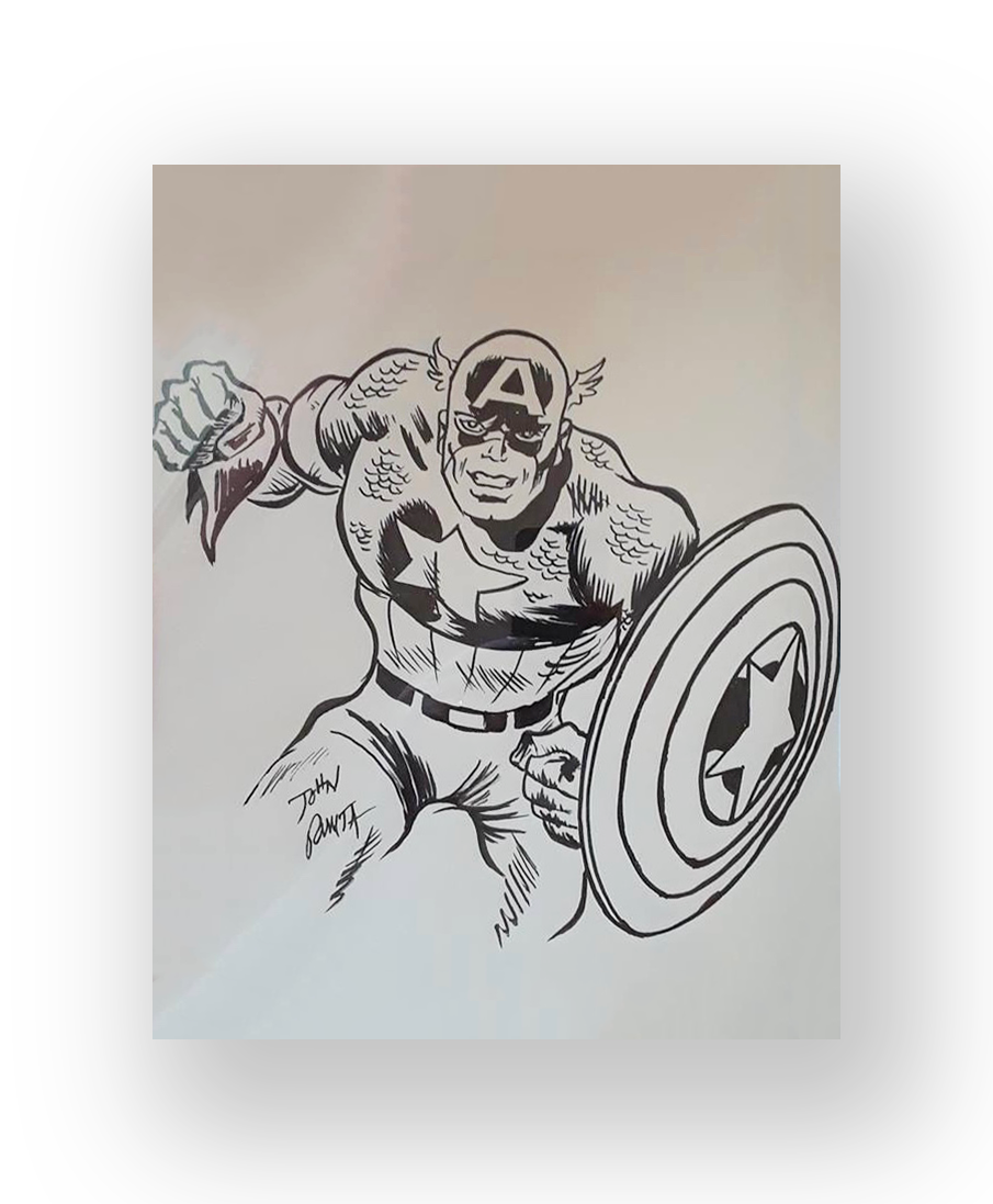 "John Romita  ""Capt. America""  Large original illustration  Ink on paper  14 x 7 inches  Circa late 1970's  Acquired at a comicon"