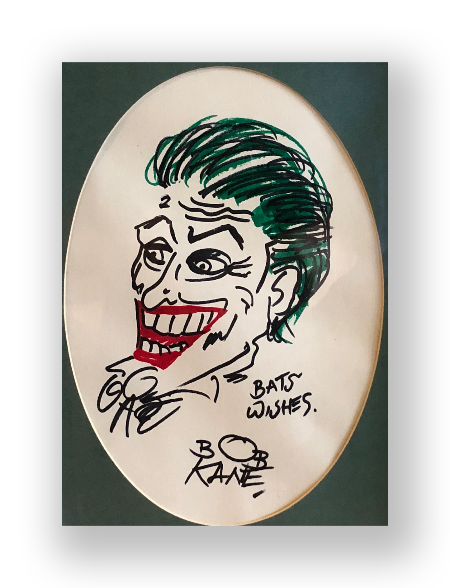 "Bob Kane  ""The Joker""  Original vintage illustration  Mixed media on Paper  6.5 x 9.5 inches  Circa 1970's  Acquired directly from him at a booth where he appeared with CC Beck at a comicon"