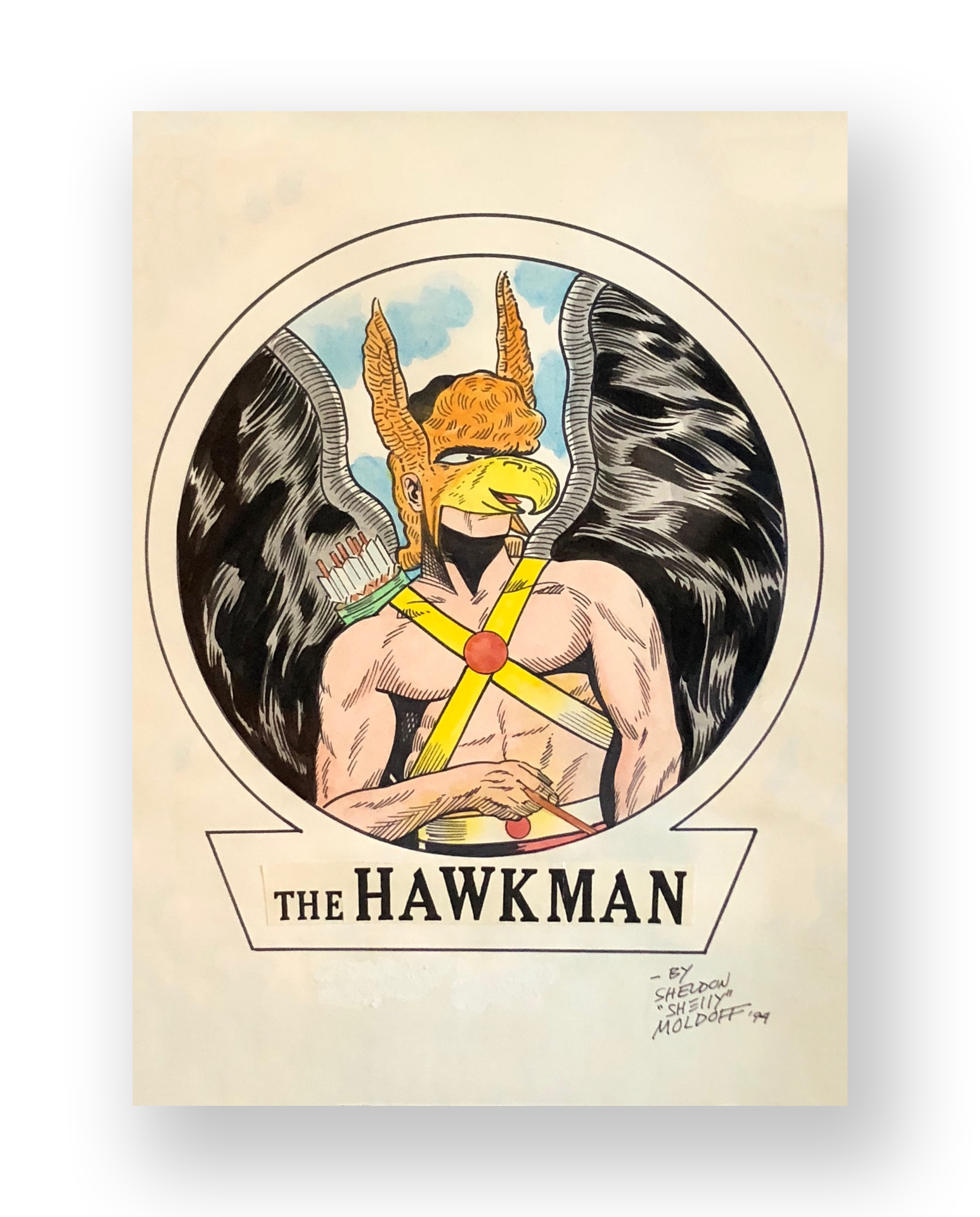 "Sheldon Moldoff  ""Hawkman""  Original illustration  Mixed media on thick stock paper  8.5 x 11.5 inches  1994"