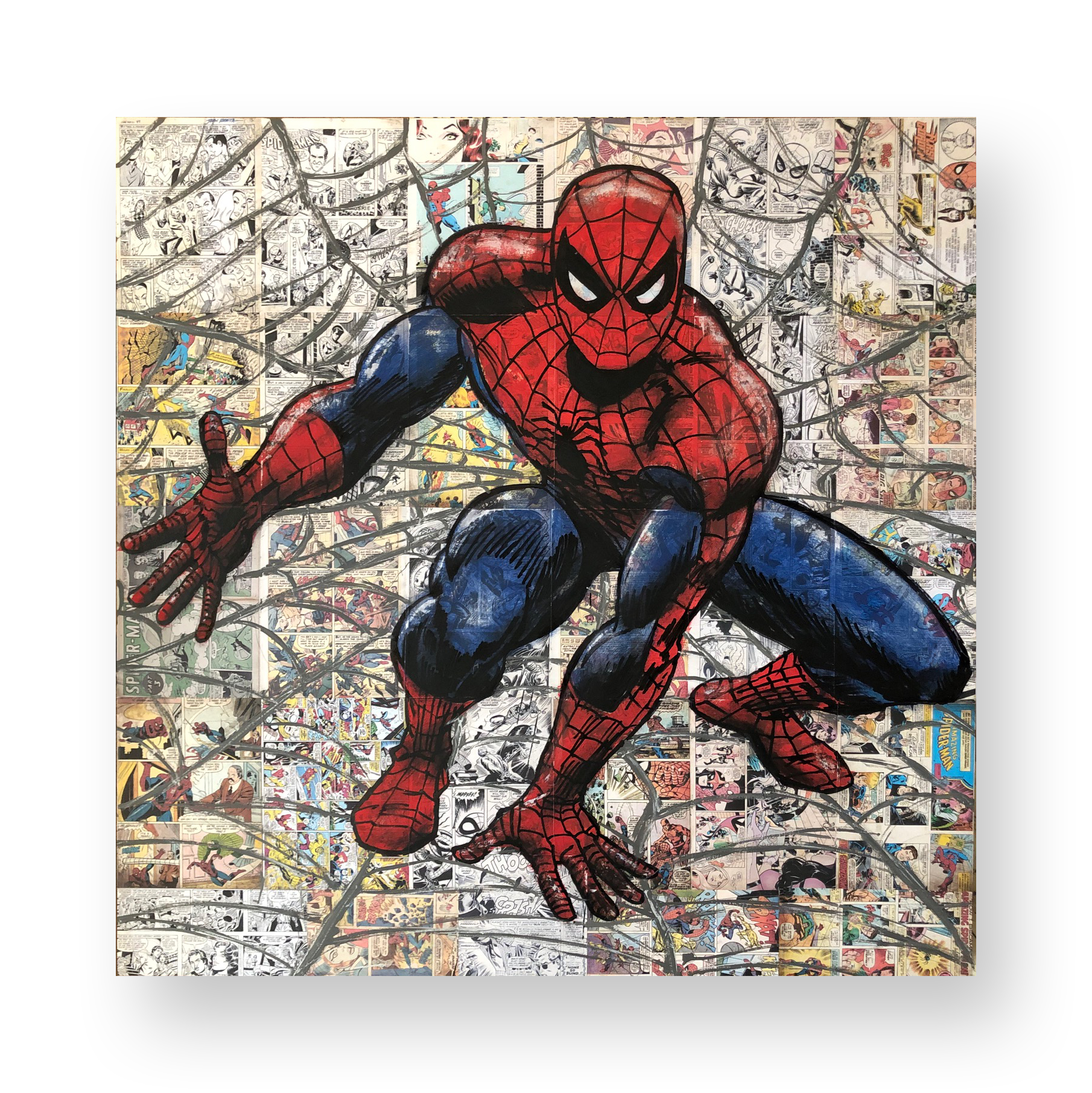 "Mel Balatbat  ""Web-Slinger""  2018  Acrylic and Latex on Masonite Board  48 x 48 inches"