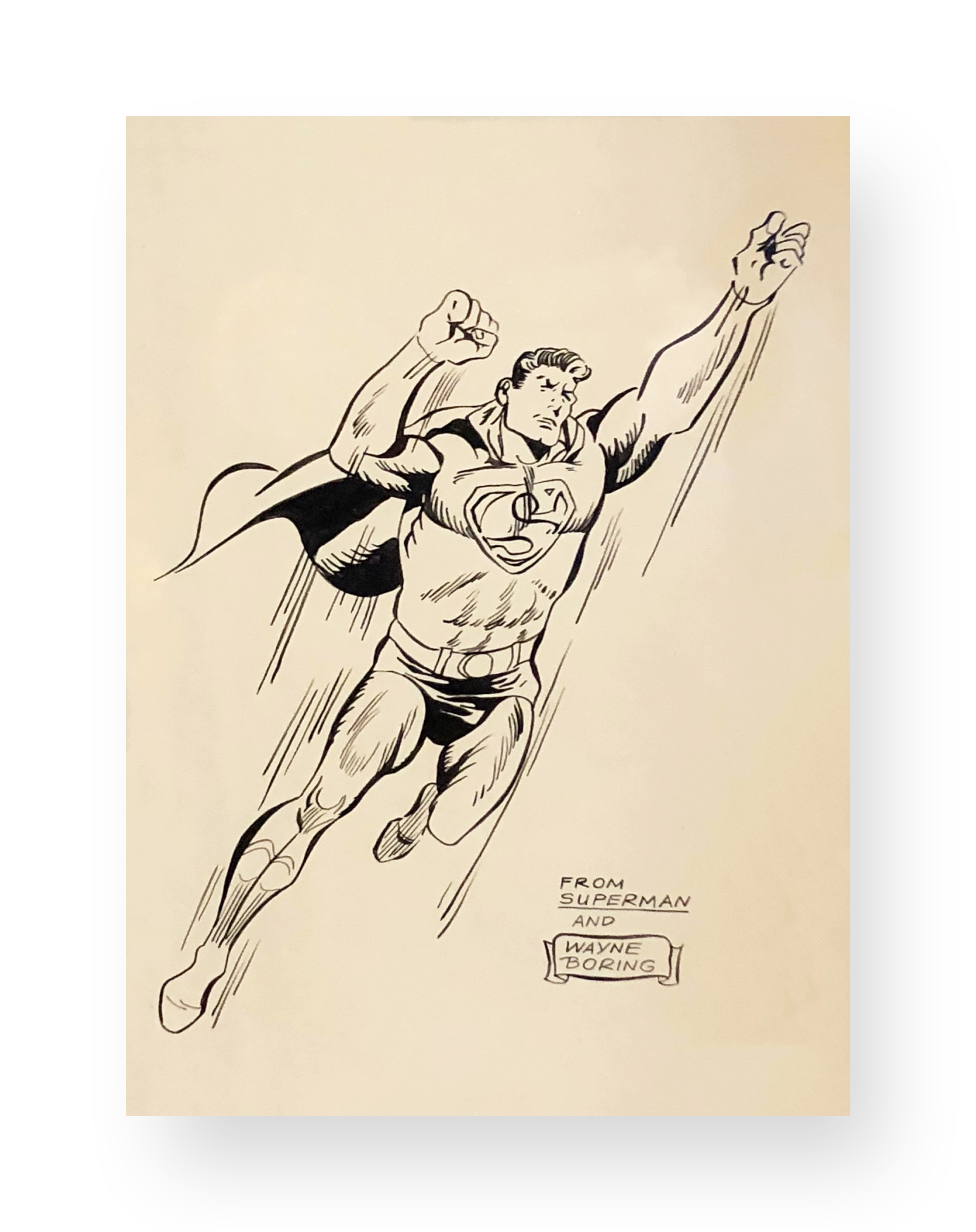 "Wayne Boring  Superman  ""In Flight""  Original vintage illustration  Ink on paper  8 x 10.5 inches  Circa 1970's"