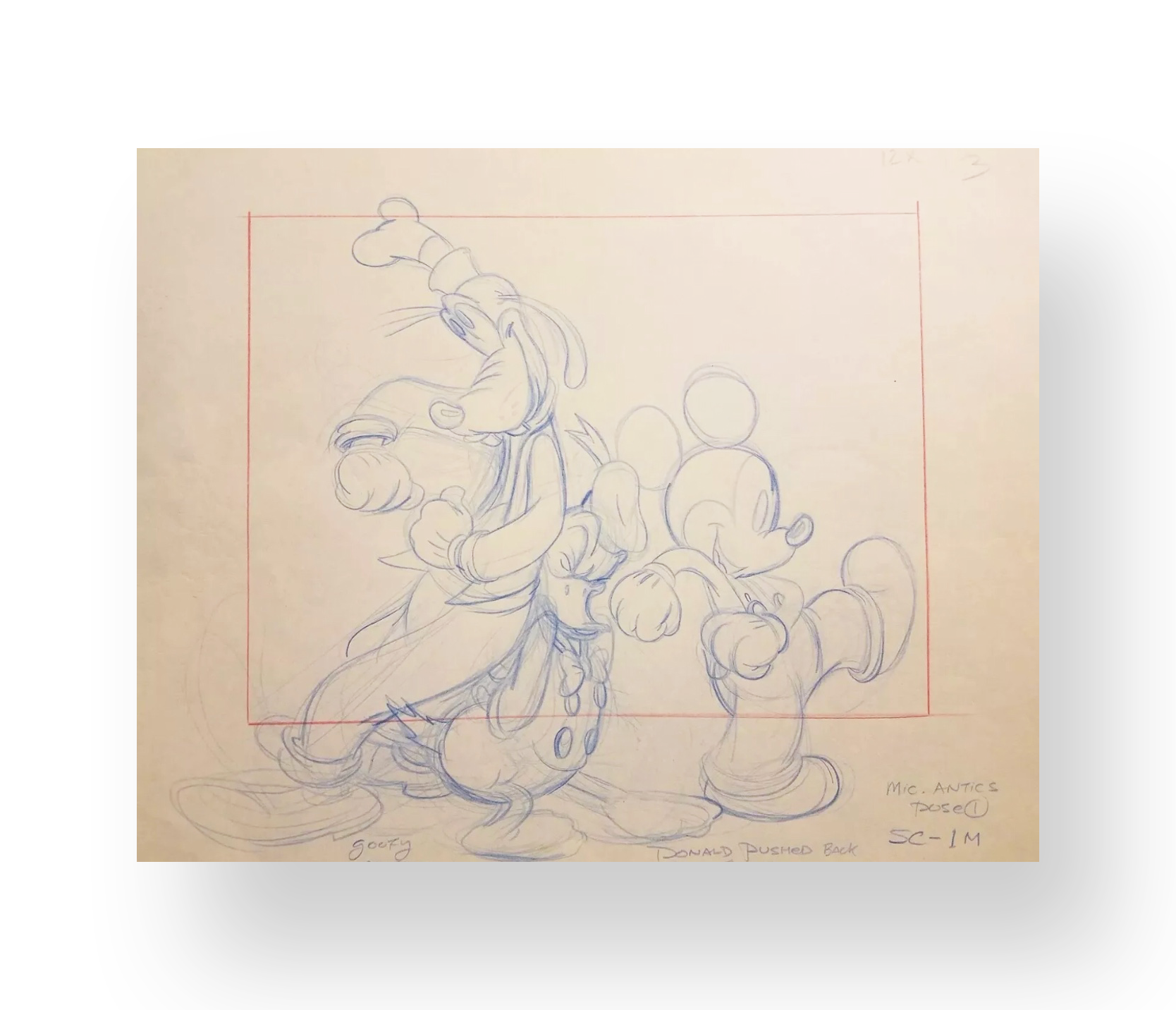 Mickey and Friends  Original Illustration production layout  Graphite and color pencil on animation paper  10.5 x 12 inches  Late 1960's  Walt Disney Studios